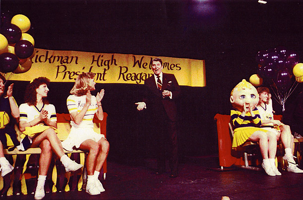 Ever the Showman  Reagan still had that Hollywood touch, always completely comfortable in front of a crowd. Here, he looks like he's about to break into an old soft-shoe at Rickman High School, where he was made an honorary Kewpie, the school's mascot.