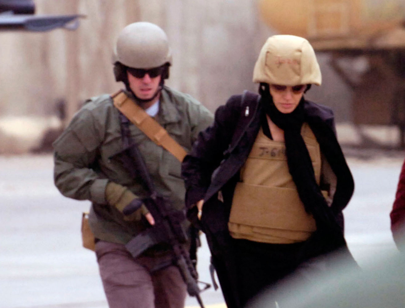 Actress Angelina Jolie visits the Green Zone in Baghdad Feb. 7, 2008.