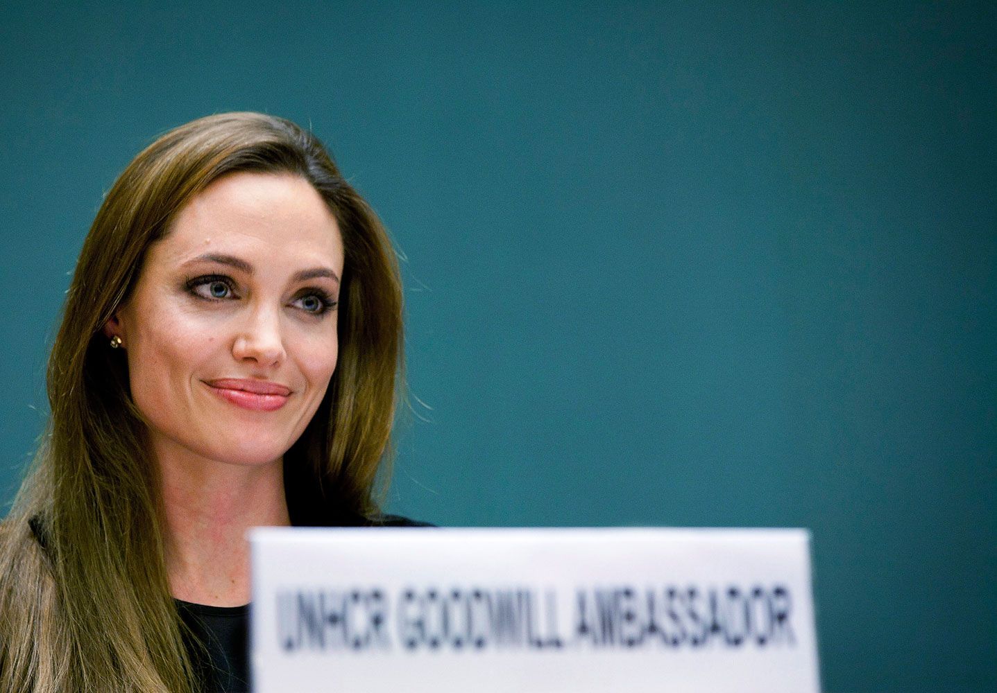 Angelina Jolie speaks during an annual meeting of UNHCR's governing executive committee in Geneva Oct. 4, 2011.