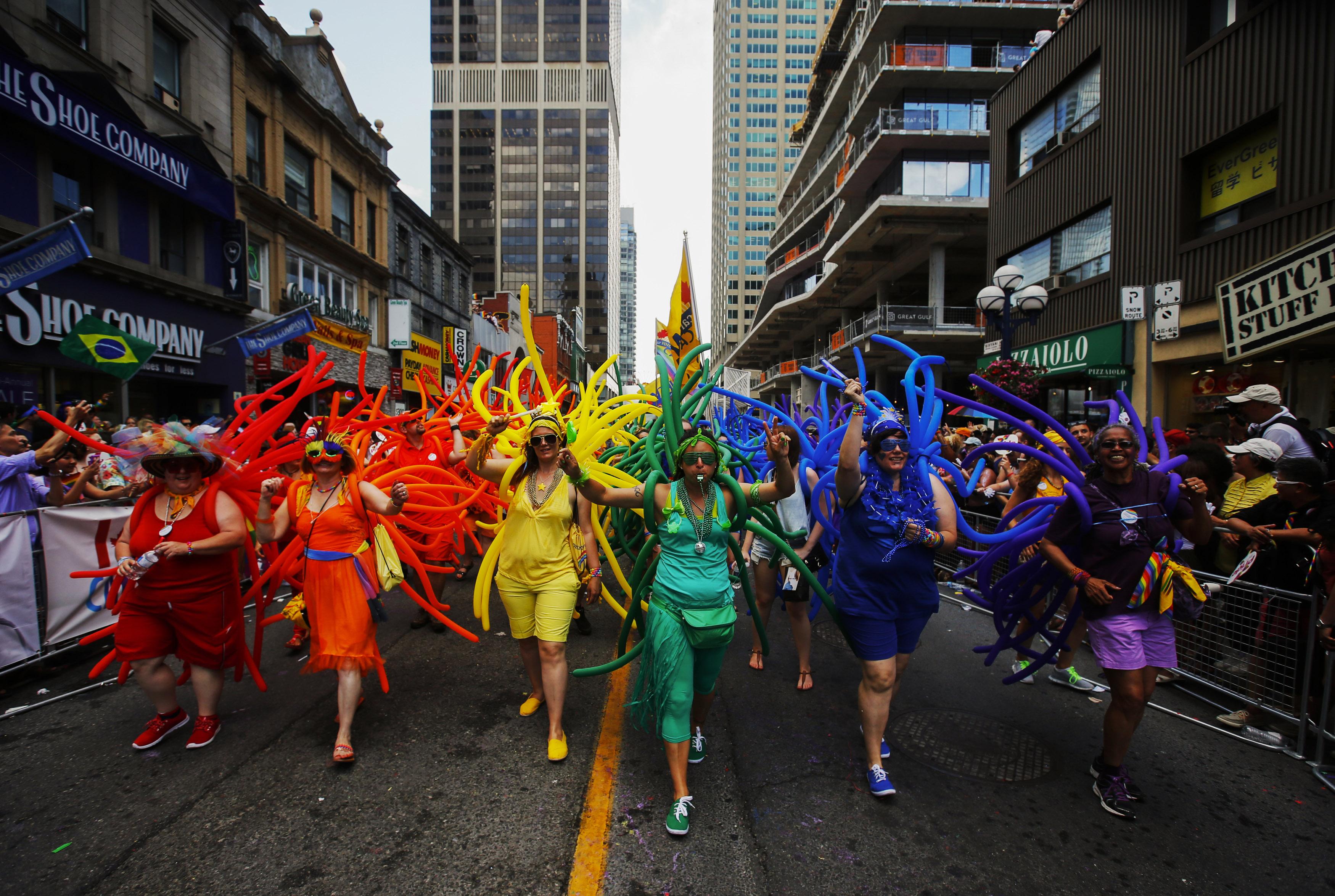 Revelers celebrate during the  WorldPride  gay pride Parade in Toronto, Canada, June 29, 2014.