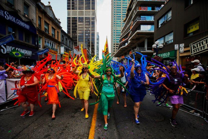 "Revelers celebrate during the"" WorldPride"" gay pride Parade in Toronto"