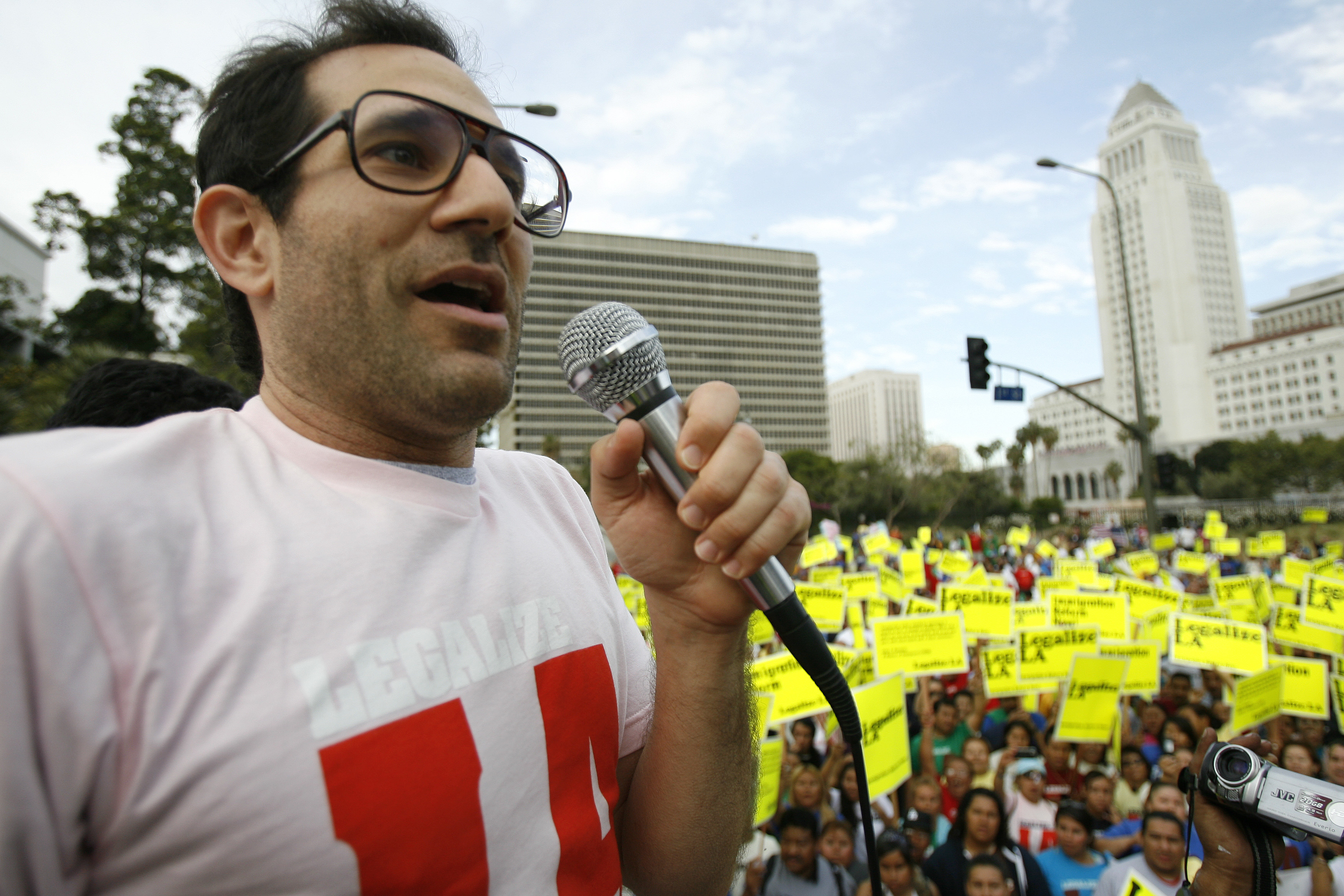 American Apparel owner Dov Charney speaks during a May Day rally march for immigrant rights in downtown Los Angeles on May 1, 2009