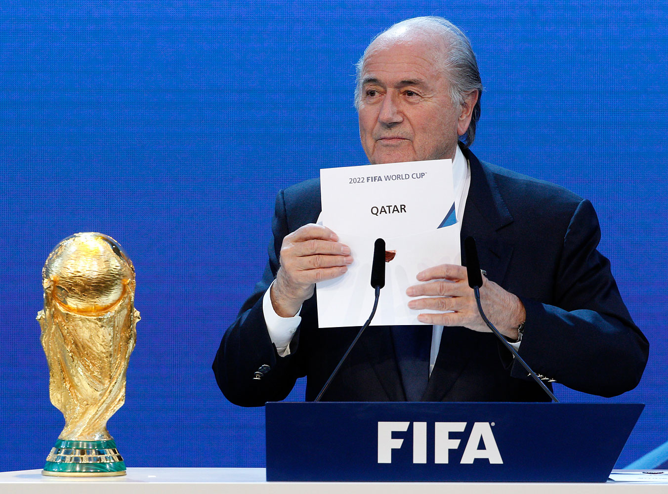 FIFA President Sepp Blatter announces Qatar as the host nation for the FIFA World Cup 2022, in Zurich, Dec. 2, 2010. A bribery scandal may cost the Middle Eastern nation the tournament.