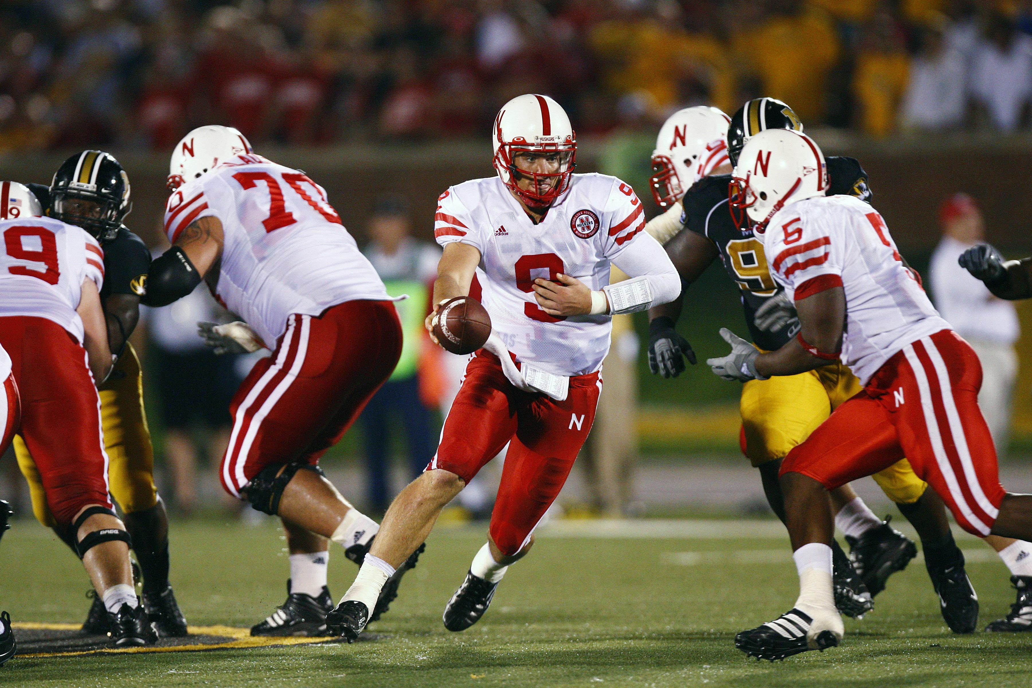 Sam Keller, then #9 of the Nebraska Cornhuskers, plays in a game against Missouri in 2007 in Columbia, Missouri.
