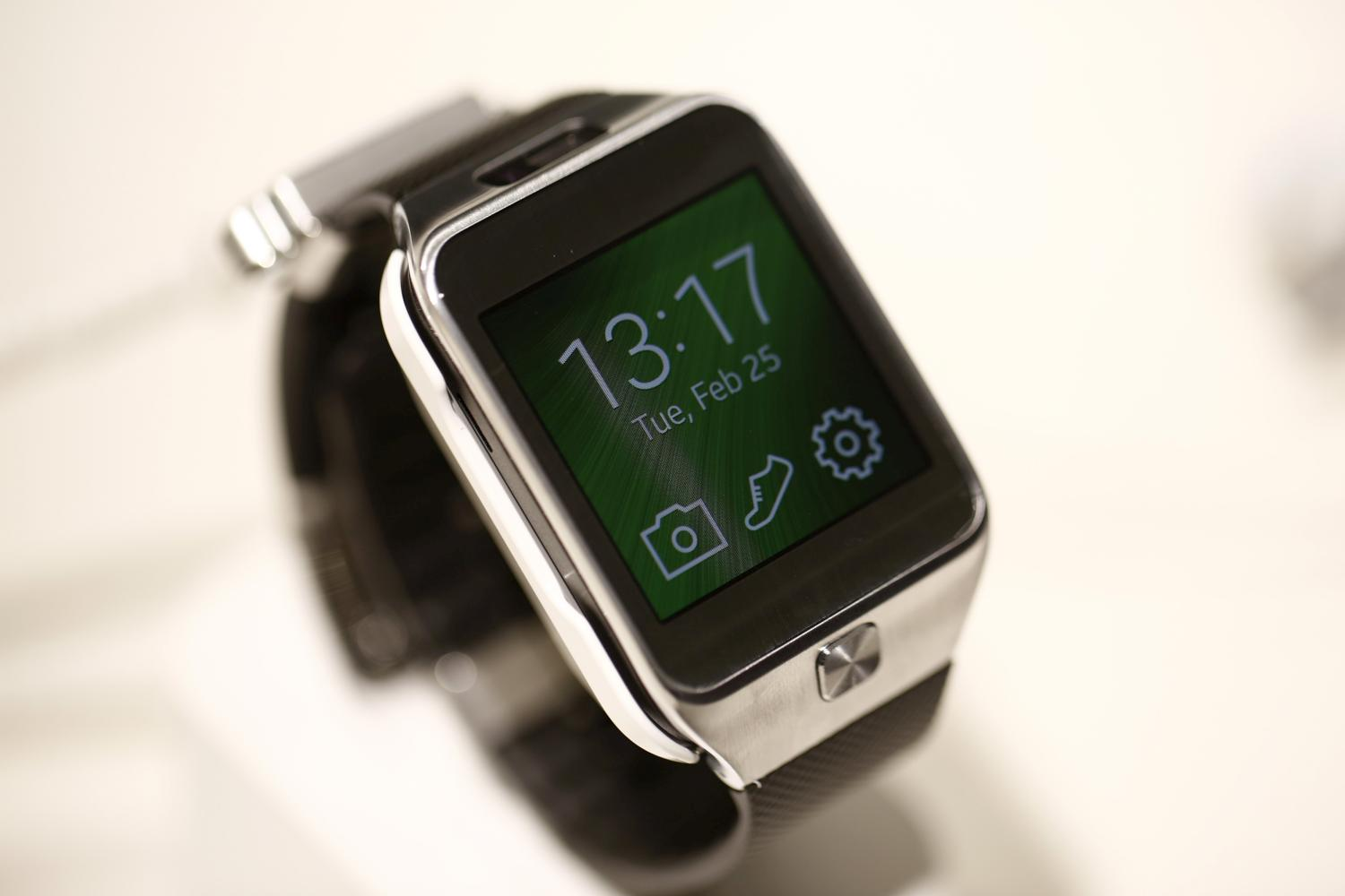 A Galaxy Gear 2 smartwatch sits on display at the Samsung Electronics Co. pavilion on day two of the Mobile World Congress in Barcelona, Spain, on Tuesday, Feb. 25, 2014.