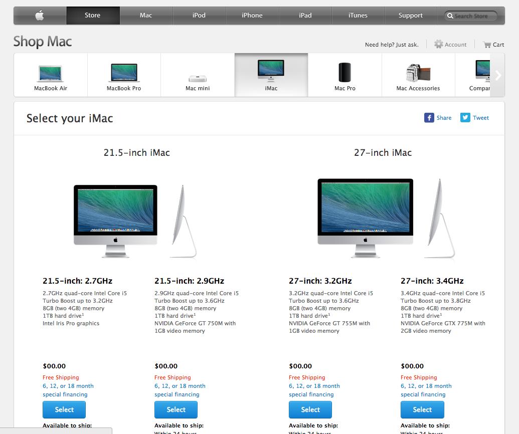iMacs aren't on sale.