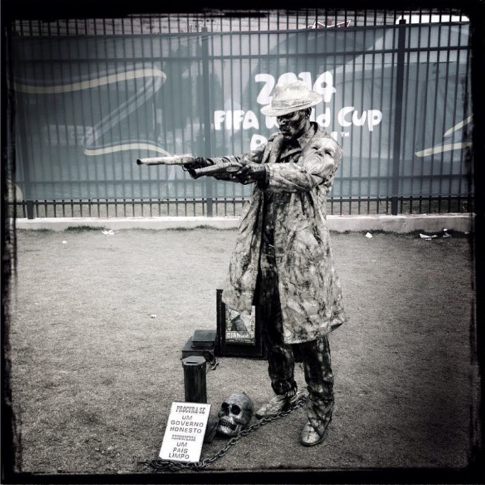 June 11. 2014. Living statue outside the stadium the day before the opening game of the 2014 World Cup.