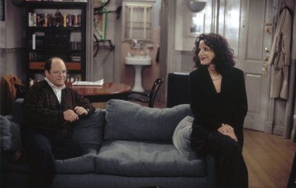 """From left: Jason Alexander as George Costanza and Julia Louis-Dreyfus as Elaine Benes in Episode 16 """"The Burning"""" from the television show Seinfeld."""