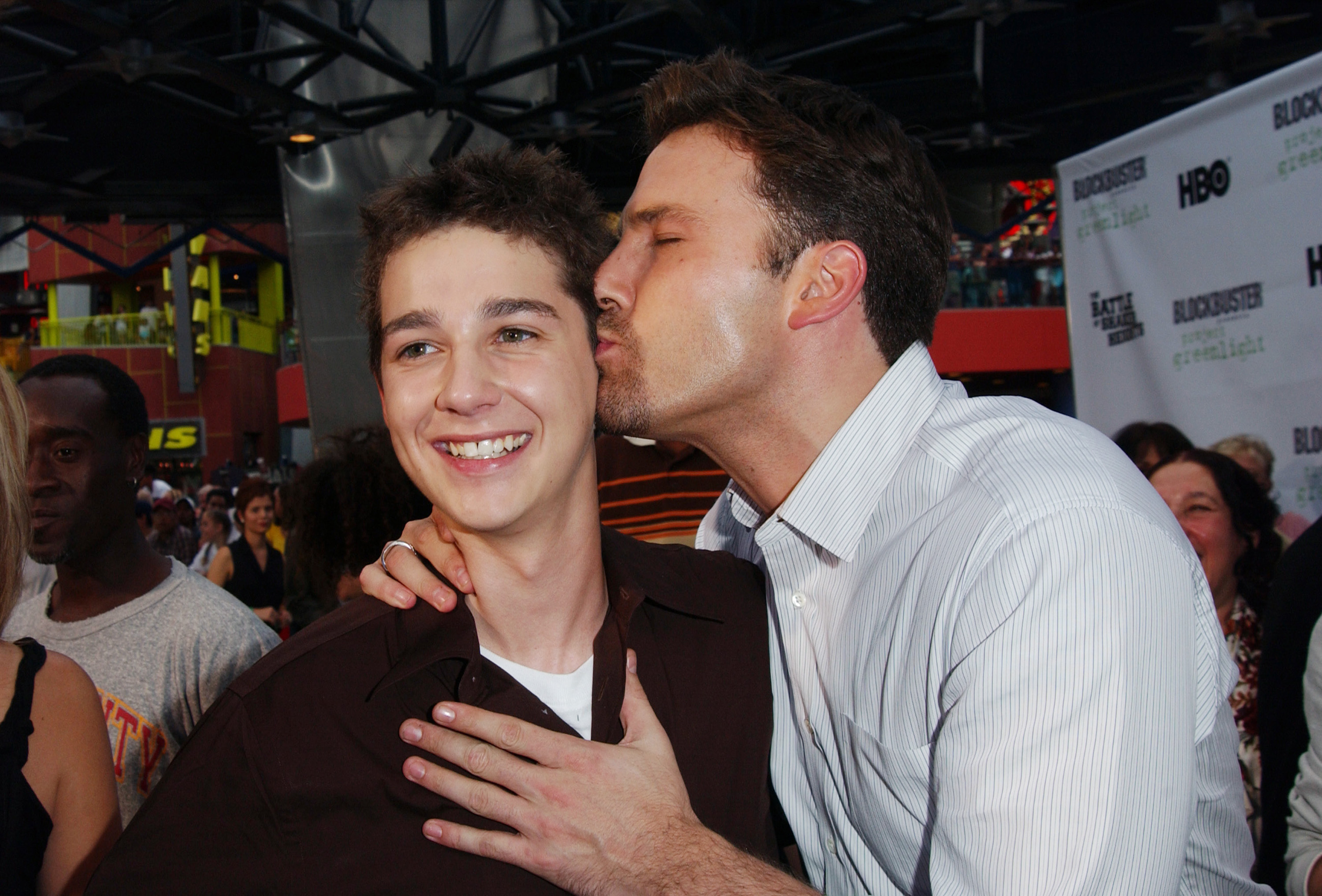 Ben Affleck gives Shia LaBeouf a smooch during the world pemiere of  The Battle Of Shaker Heights  in 2003.