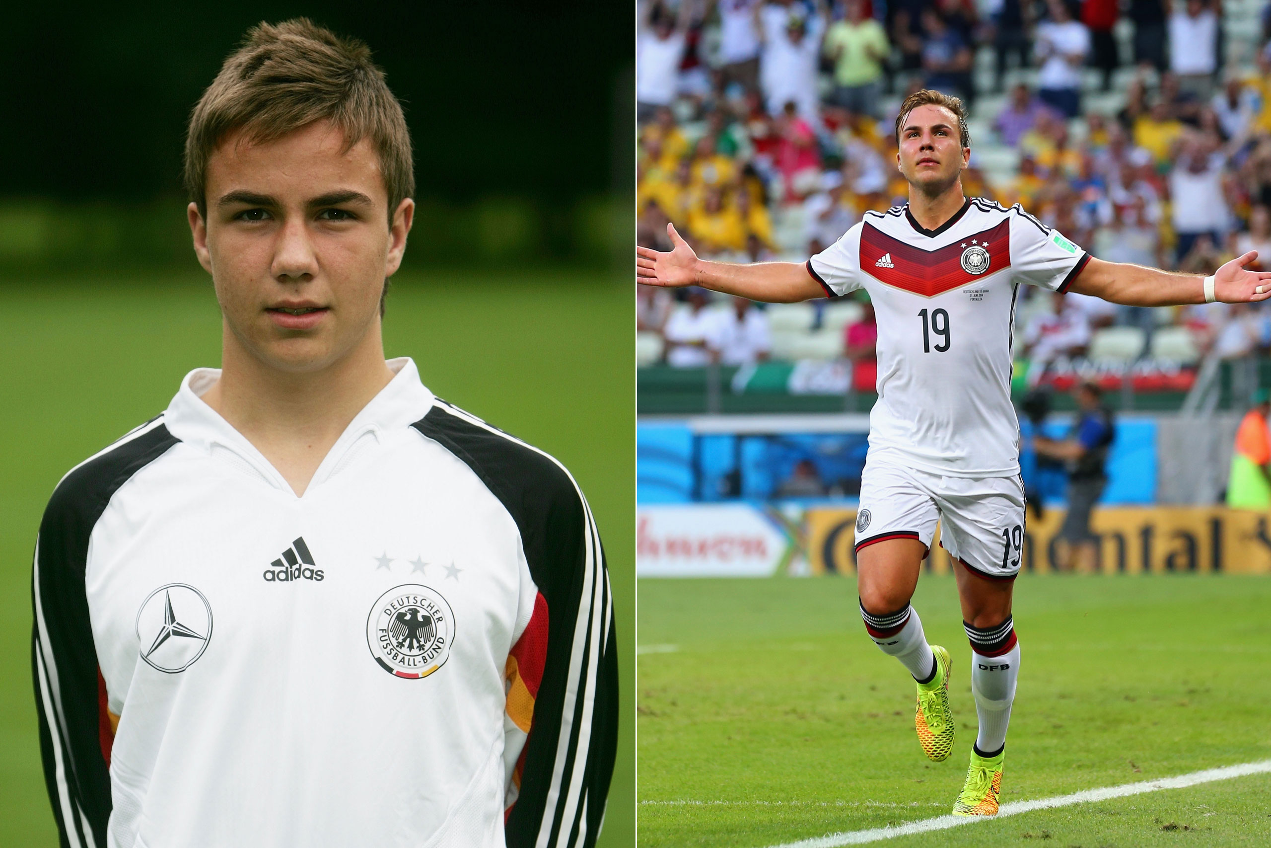Left: Mario Goetze in 2007; Right: Mario Goetze playing for Germany at the FIFA World Cup in Brazil, 2014.
