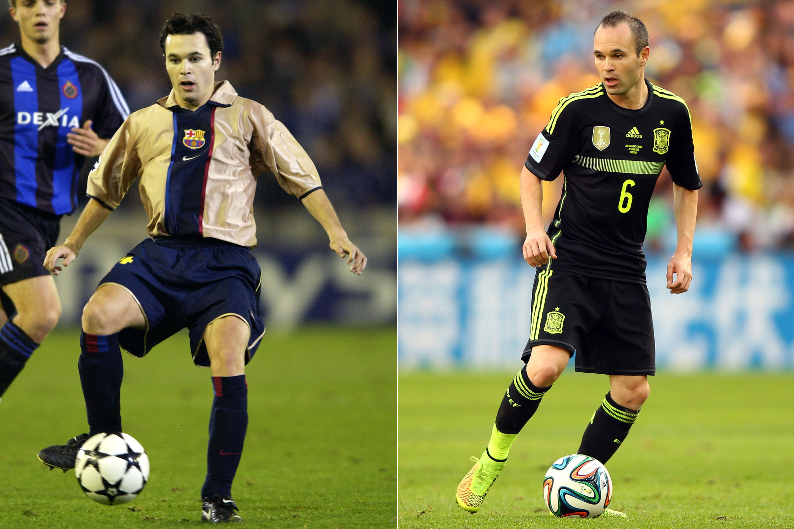 Left: Andres Iniesta in 2002; Right: Andres Iniesta playing for Spain at the FIFA World Cup in Brazil, 2014.
