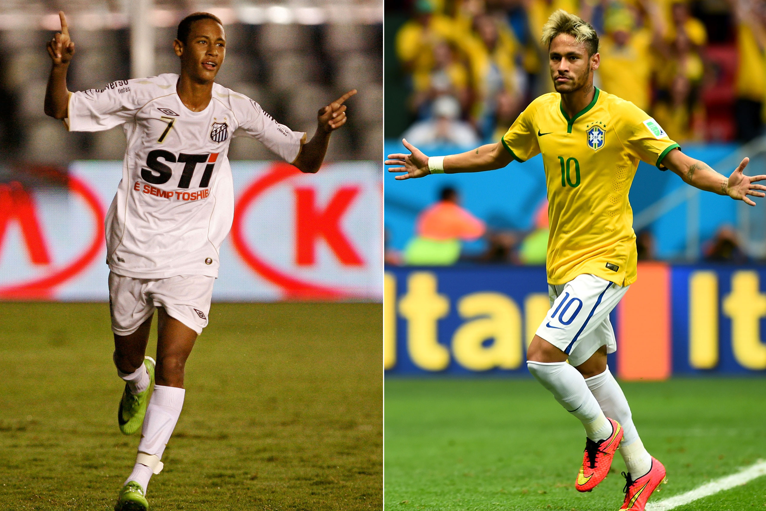 Left: Neymar in 2009; Right: Neymar playing for Brazil at the FIFA World Cup in Brazil, 2014.