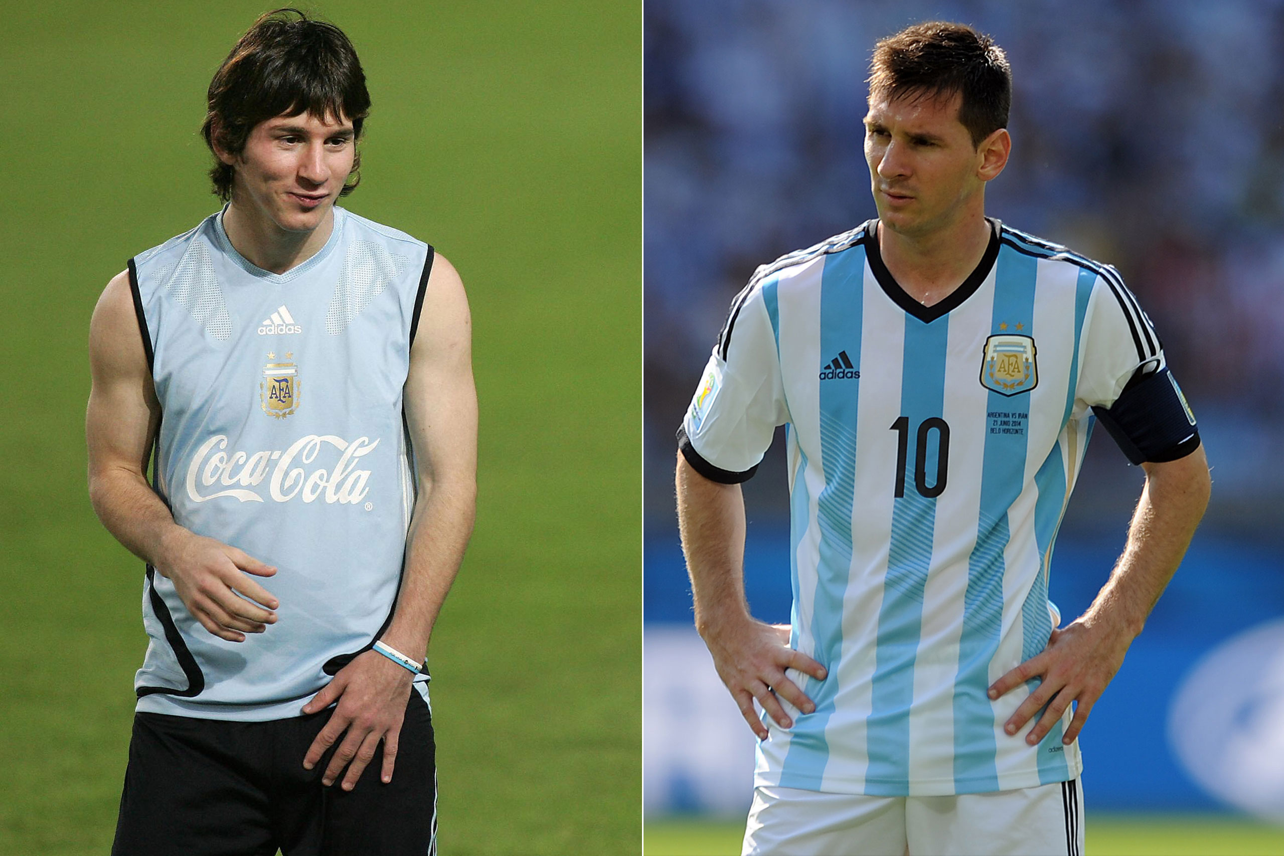 Left: Lionel Messi in 2005; Right: Lionel Messi playing for Argentina at the FIFA World Cup in Brazil, 2014.