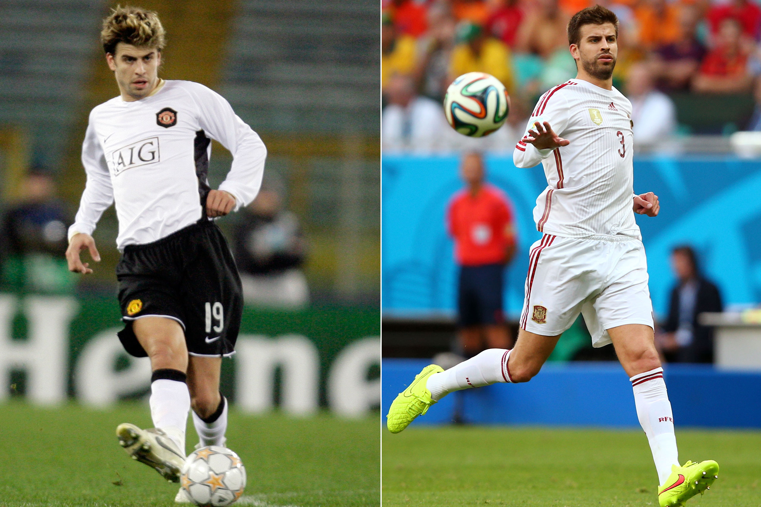 Left: Gerard Pique in 2007; Right: Gerard Pique playing for Spain at the FIFA World Cup in Brazil, 2014.