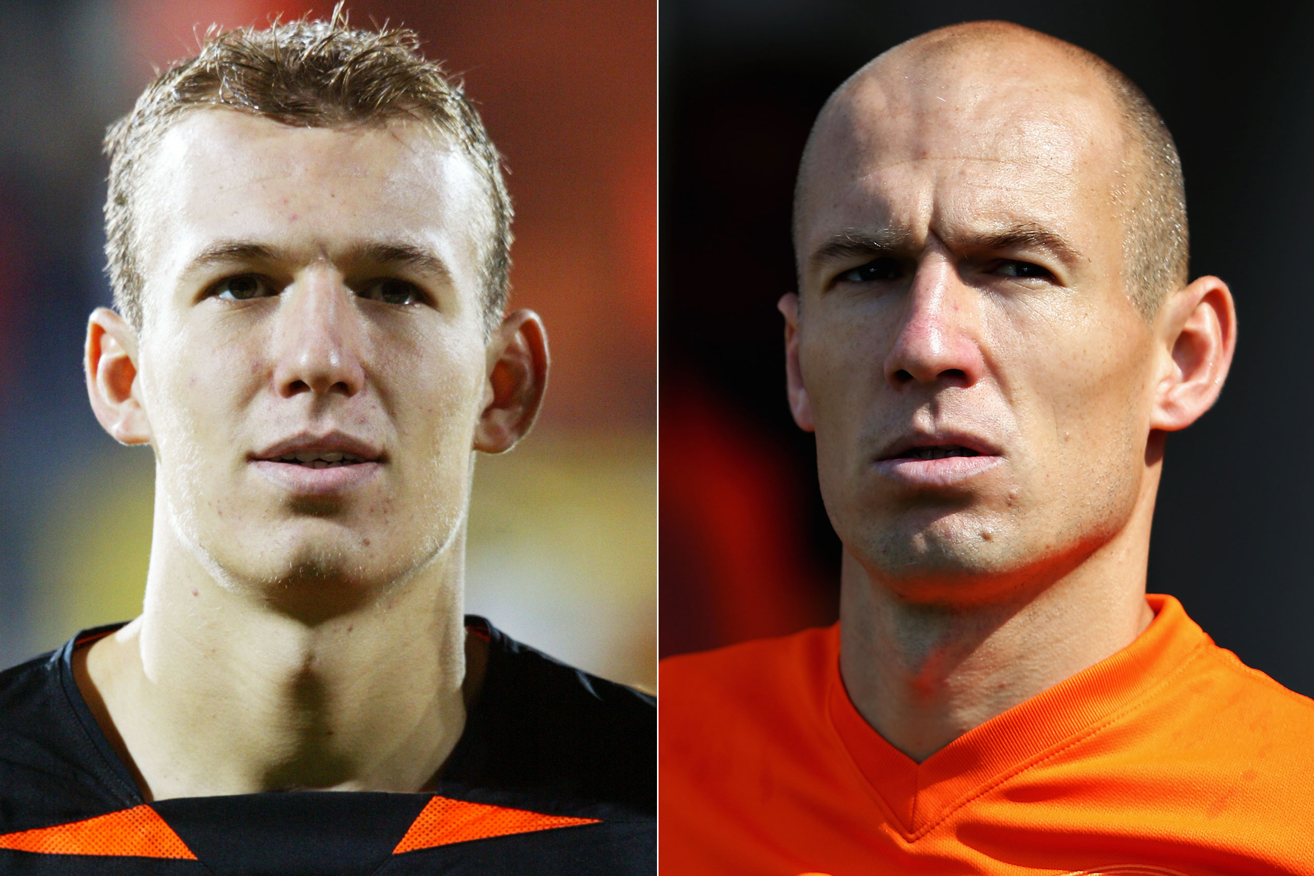 Left: Arjen Robben  in 2002; Right: Arjen Robben playing for the Netherlands at the FIFA World Cup in Brazil, 2014.