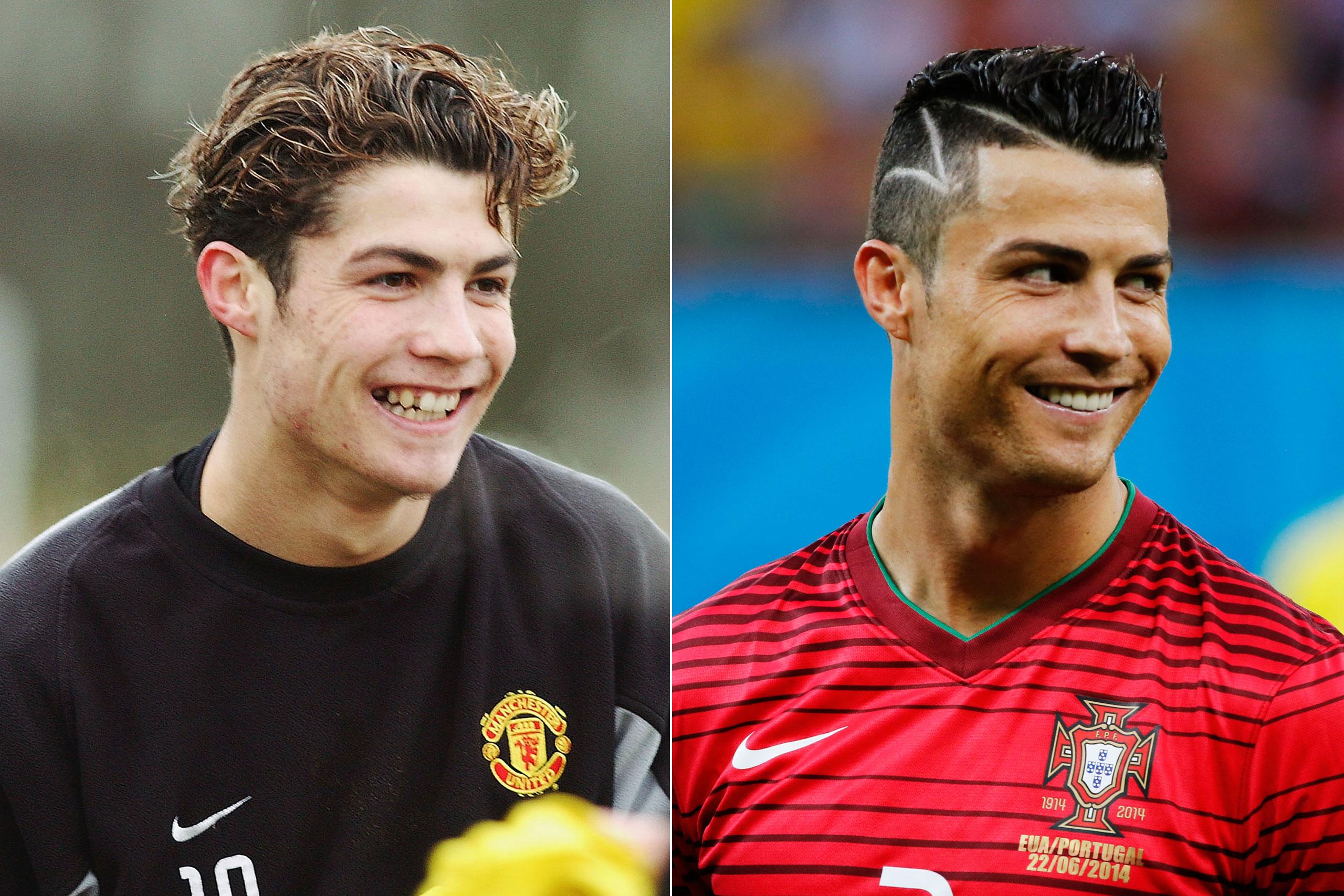 Left: Cristiano Ronaldo in 2004; Right: Cristiano Ronaldo playing for Portugal at the FIFA World Cup in Brazil, 2014.