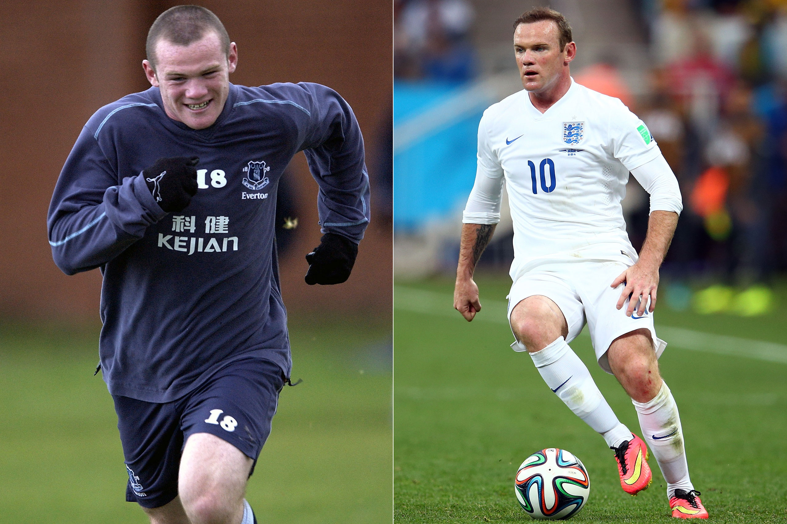 Left: Wayne Rooney in 2002; Right: Wayne Rooney playing for England at the FIFA World Cup in Brazil, 2014.