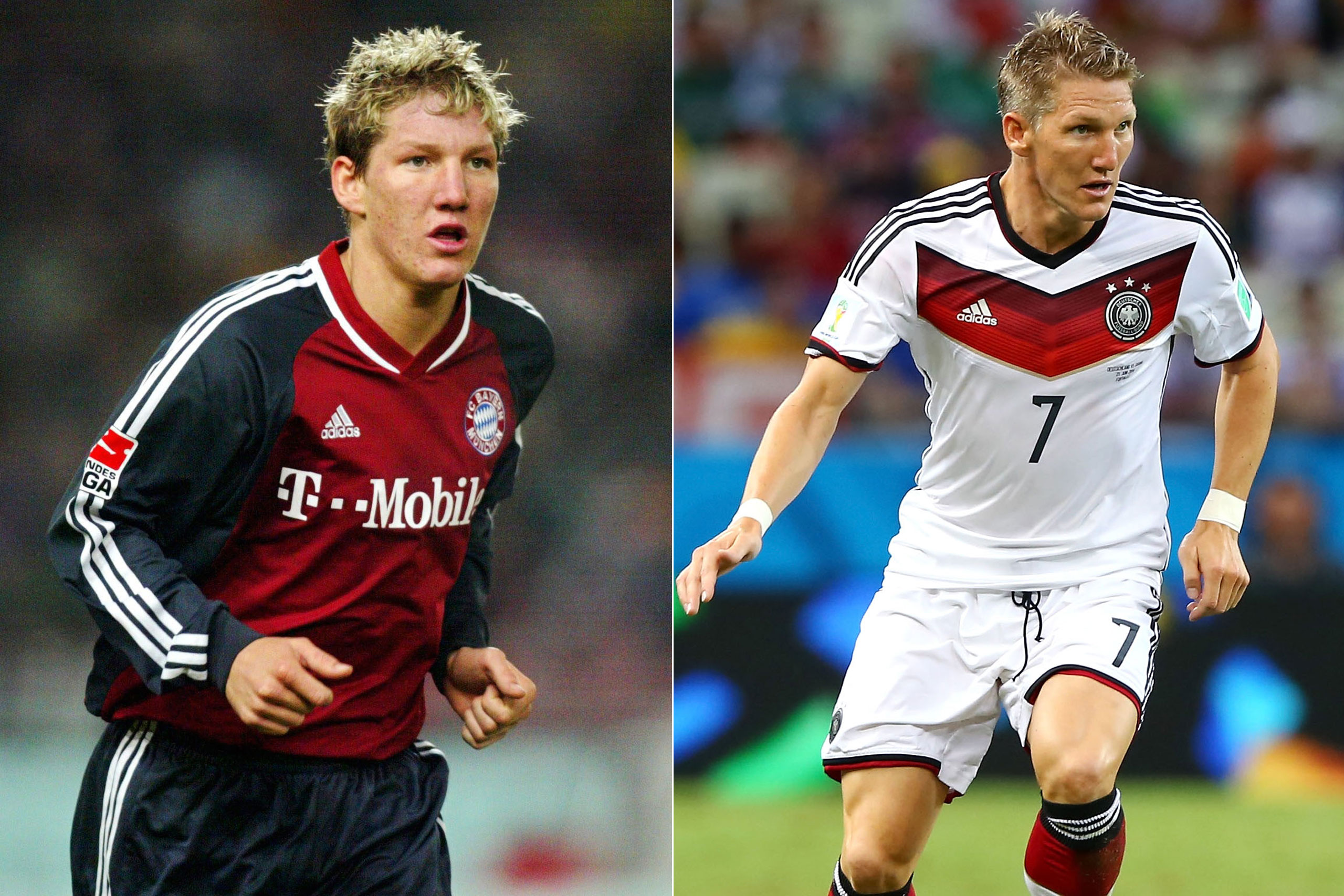 Left: Bastian Schweinsteiger in 2002; Right: Bastian Schweinsteiger playing for Germany at the FIFA World Cup in Brazil, 2014.