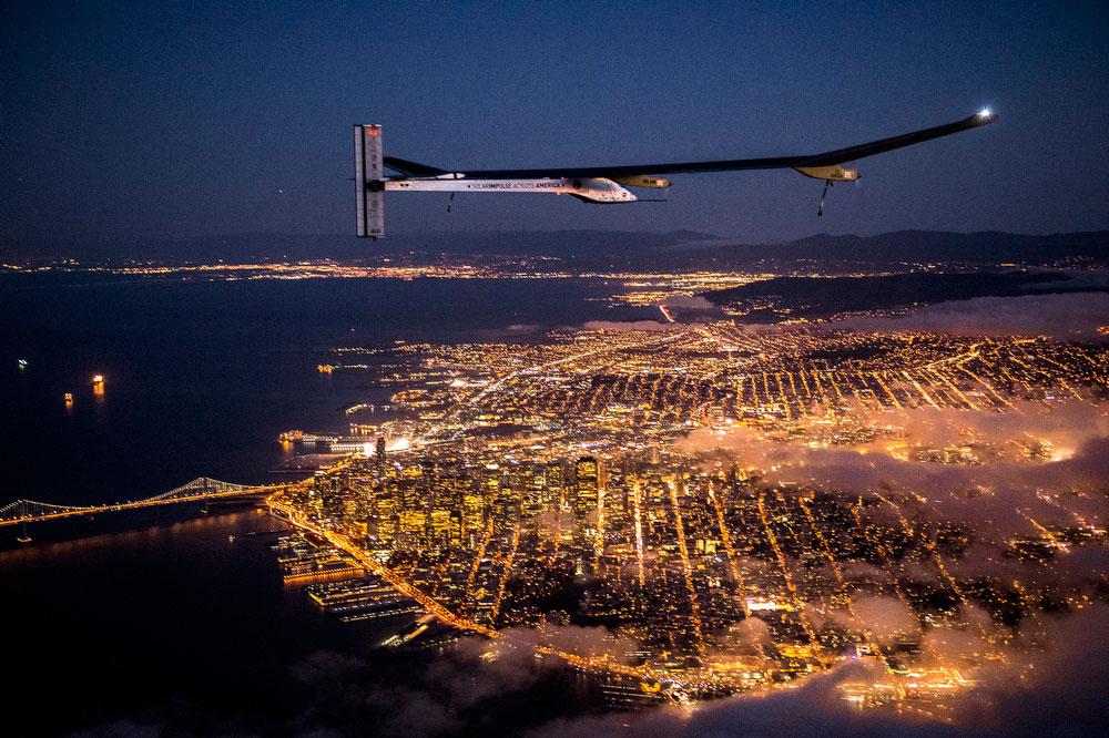 Solar Impulse's HB-SIA prototype flies over the San Francisco Bay, April 23, 2013.