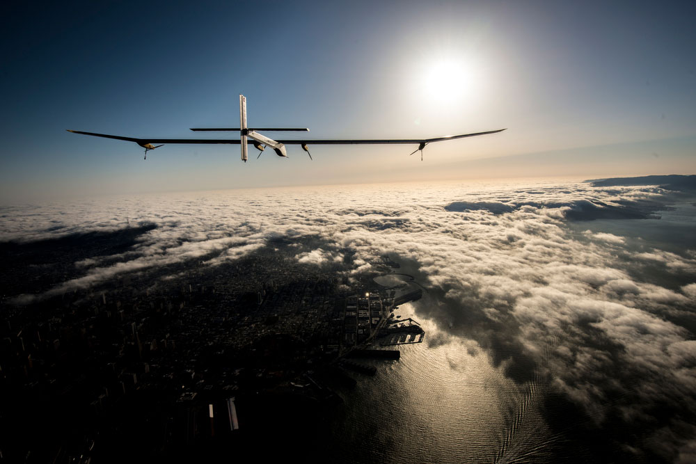 Solar Impulse' s HB-SIA prototype soars above the clouds over the San Francisco Bay, April 23, 2013.