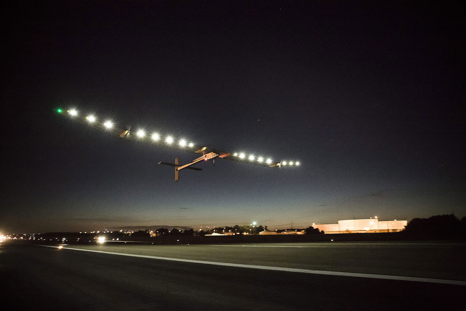 Solar Impulse takes off on its final leg of its flight across the USA from Dulles International Airport in Dulles, Va., July 6, 2013.