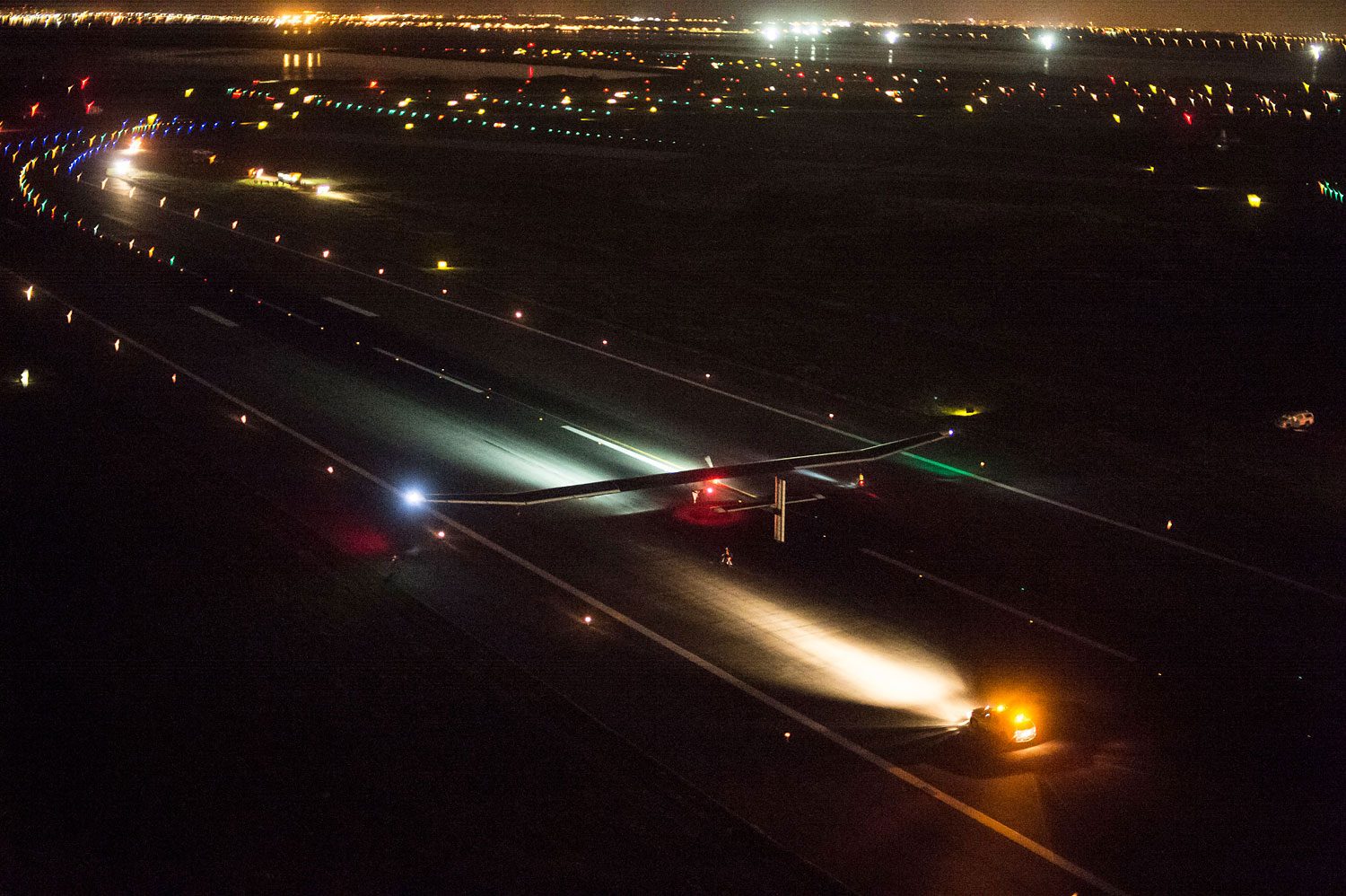 Solar Impulse lands at Kennedy airport. The solar-powered airplane of Swiss pioneers Bertrand Piccard and Andre Borschberg completed the final leg of the Across America campaign, flying from Dulles to New York's Kennedy airport.