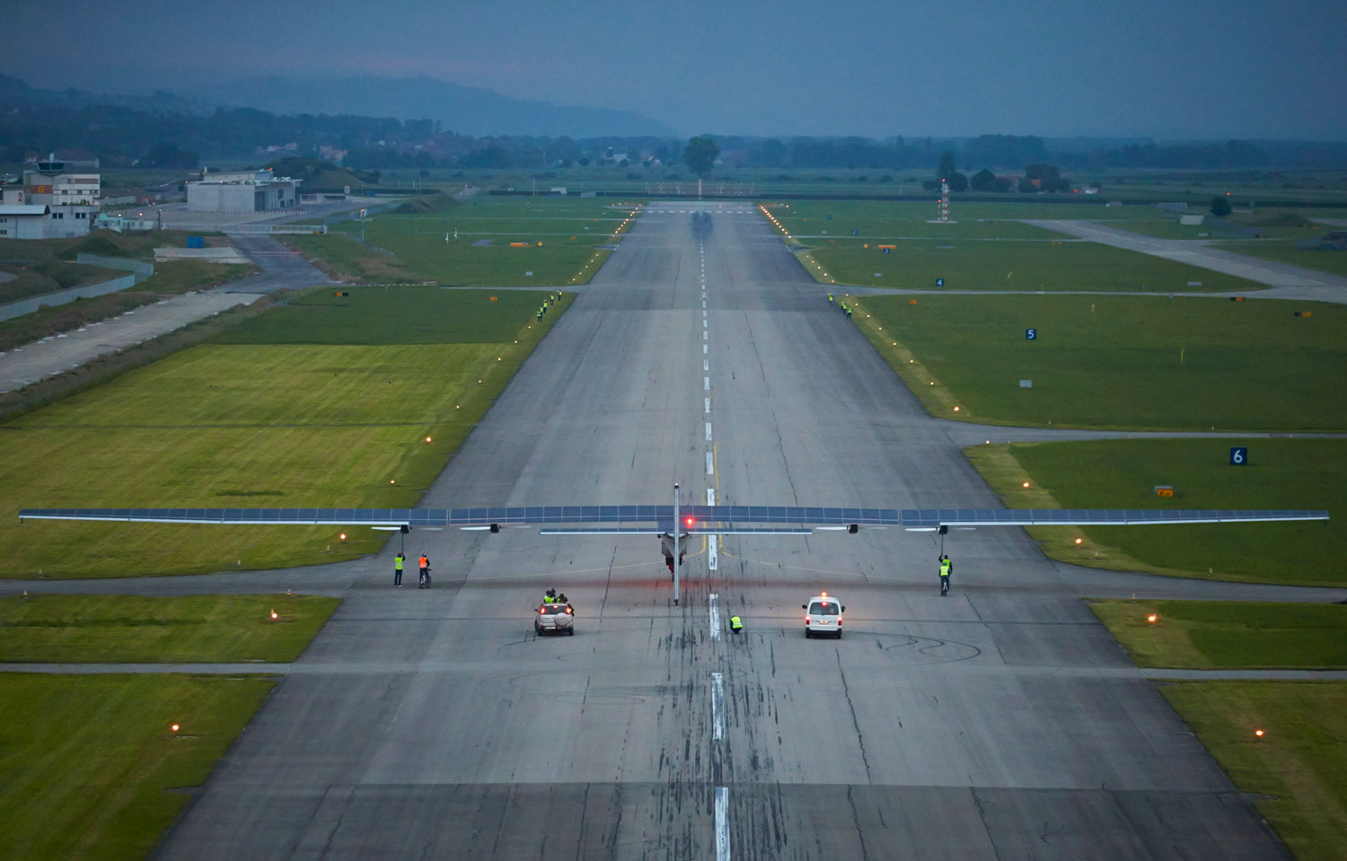 German test pilot Markus Scherdel prepares for take-off in the solar-powered Solar Impulse 2 aircraft on its maiden flight at its base in Payerne June 2, 2014.