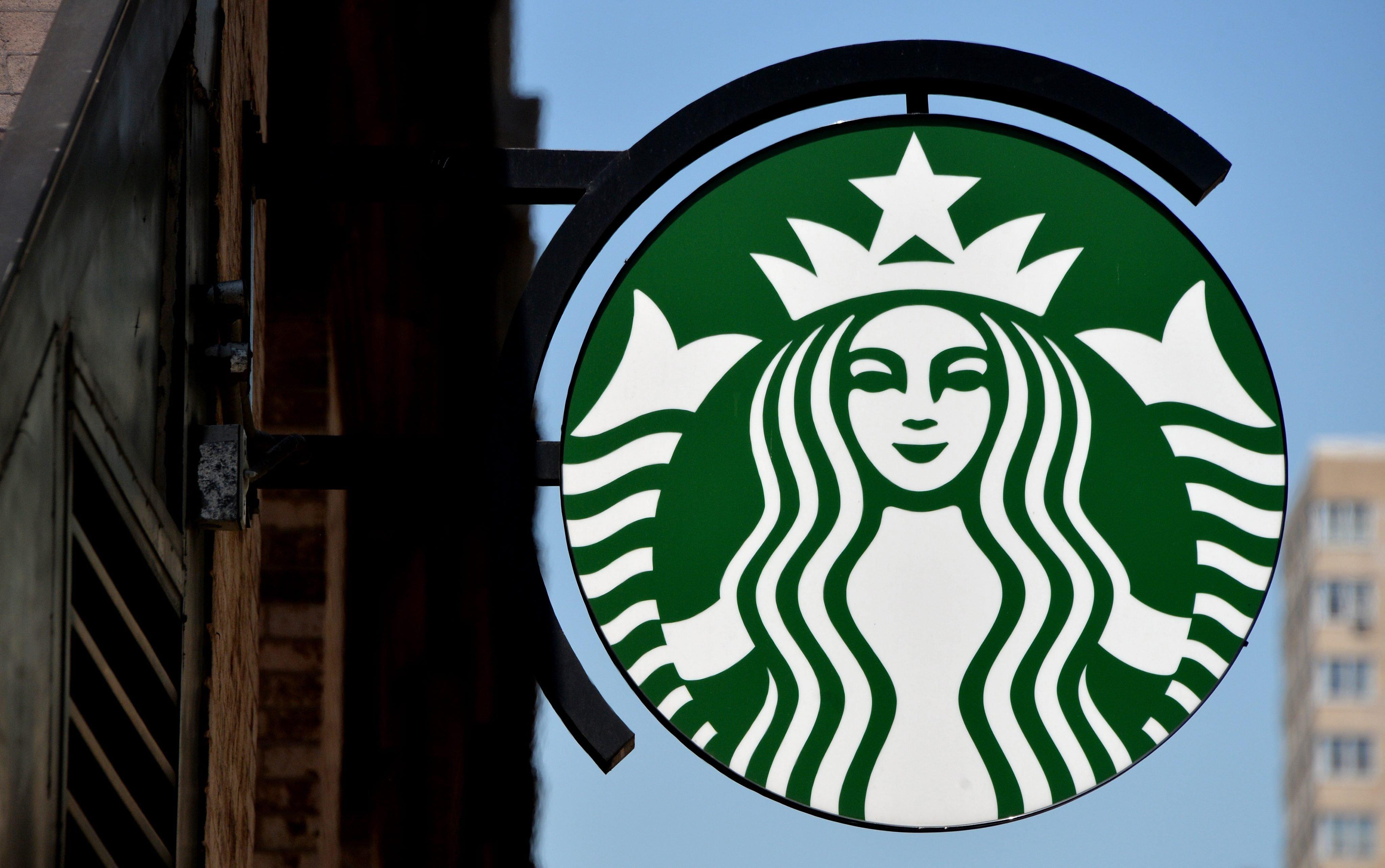 A Starbucks sign in New York City on June 16, 2014.
