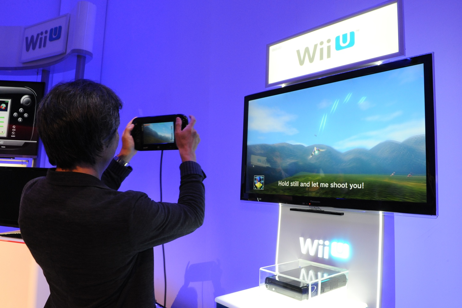 Nintendo's Shigeru Miyamoto demonstrates the new control scheme in Star Fox for the Wii U.