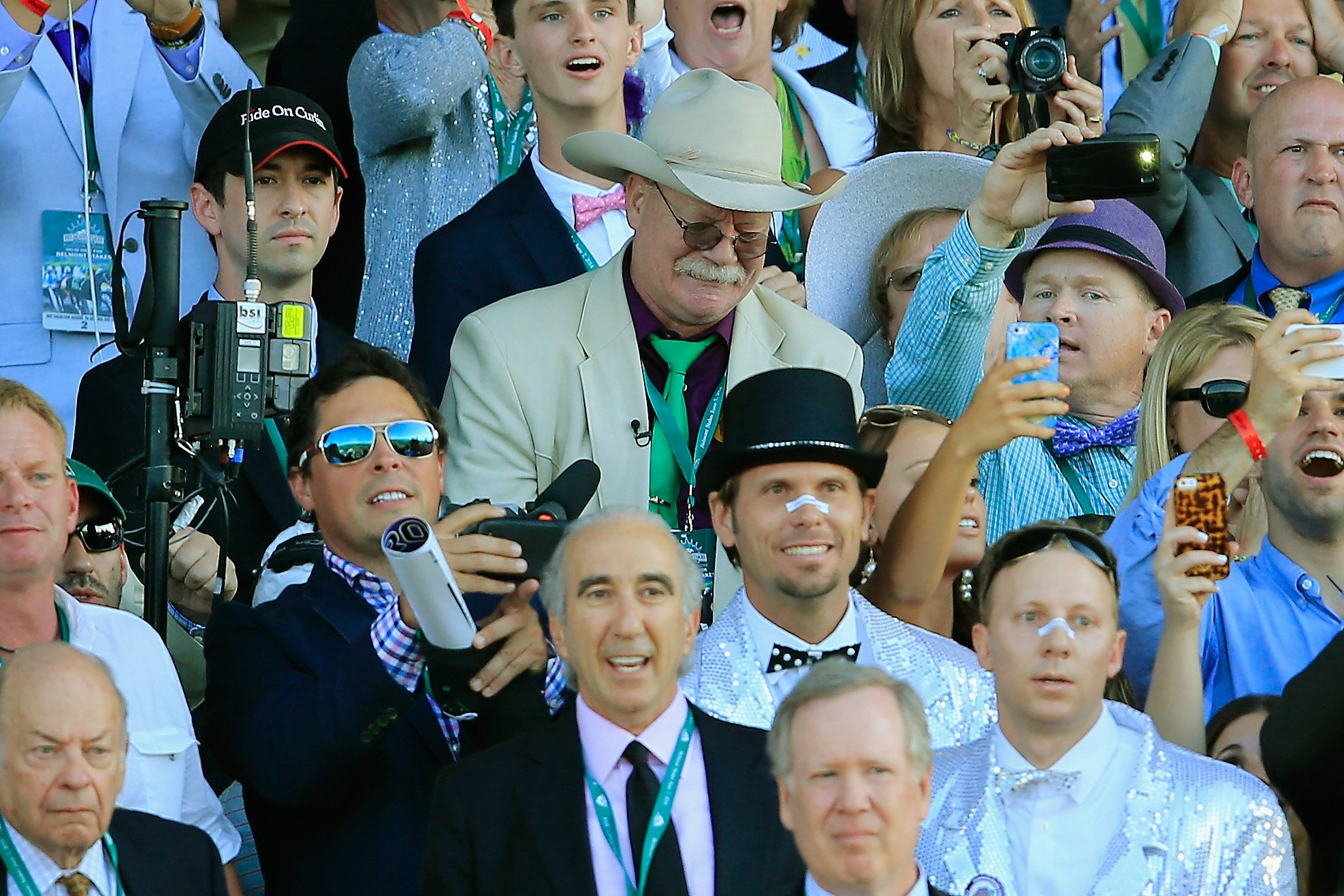 Steve Coburn, co-owner of California Chrome reacts while watching the 146th running of the Belmont Stakes at Belmont Park on June 7, 2014 in Elmont, New York.