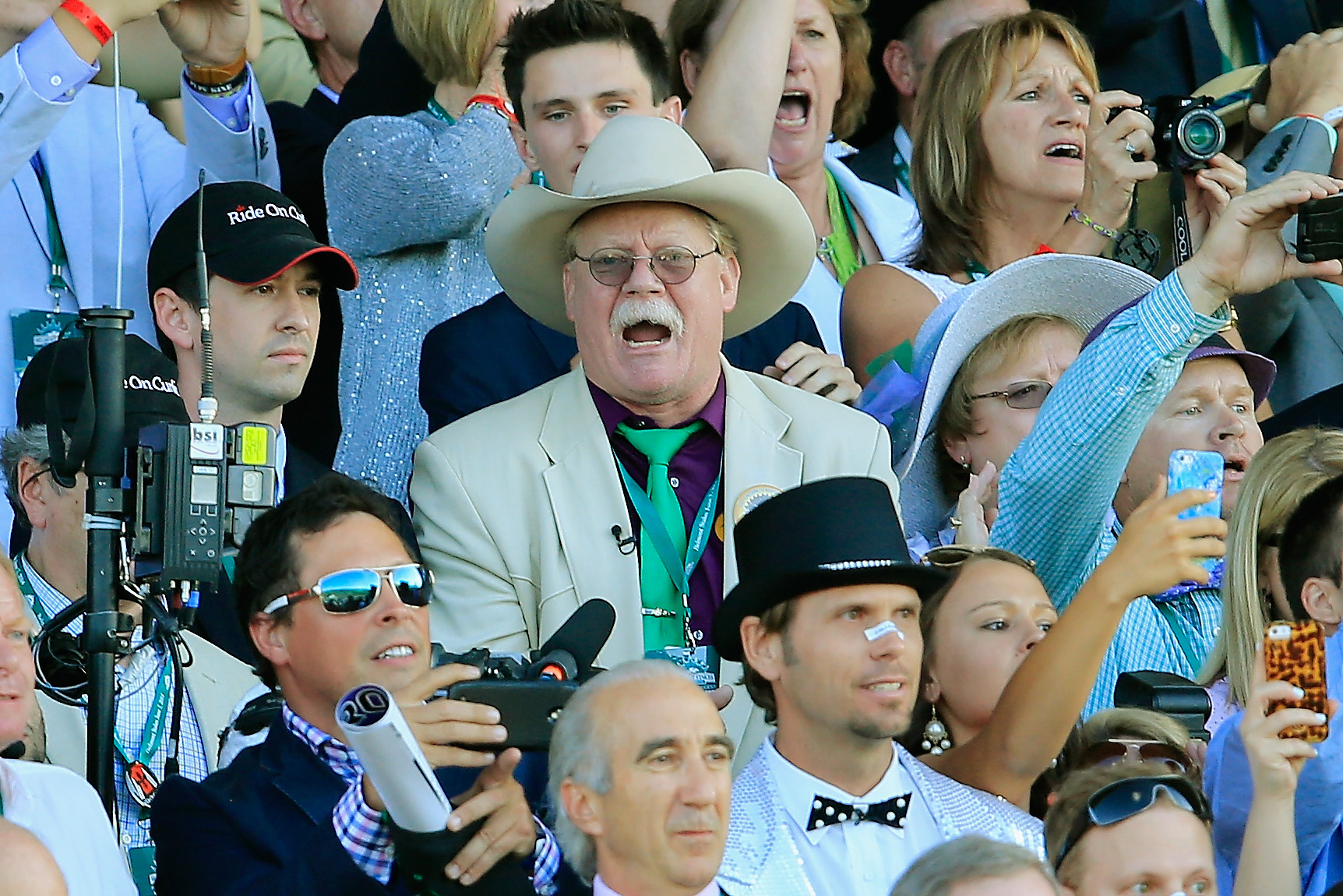 Steve Coburn, co-owner of California Chrome, not happy while watching the 146th running of the Belmont Stakes at Belmont Park on June 7, 2014 in Elmont, New York.