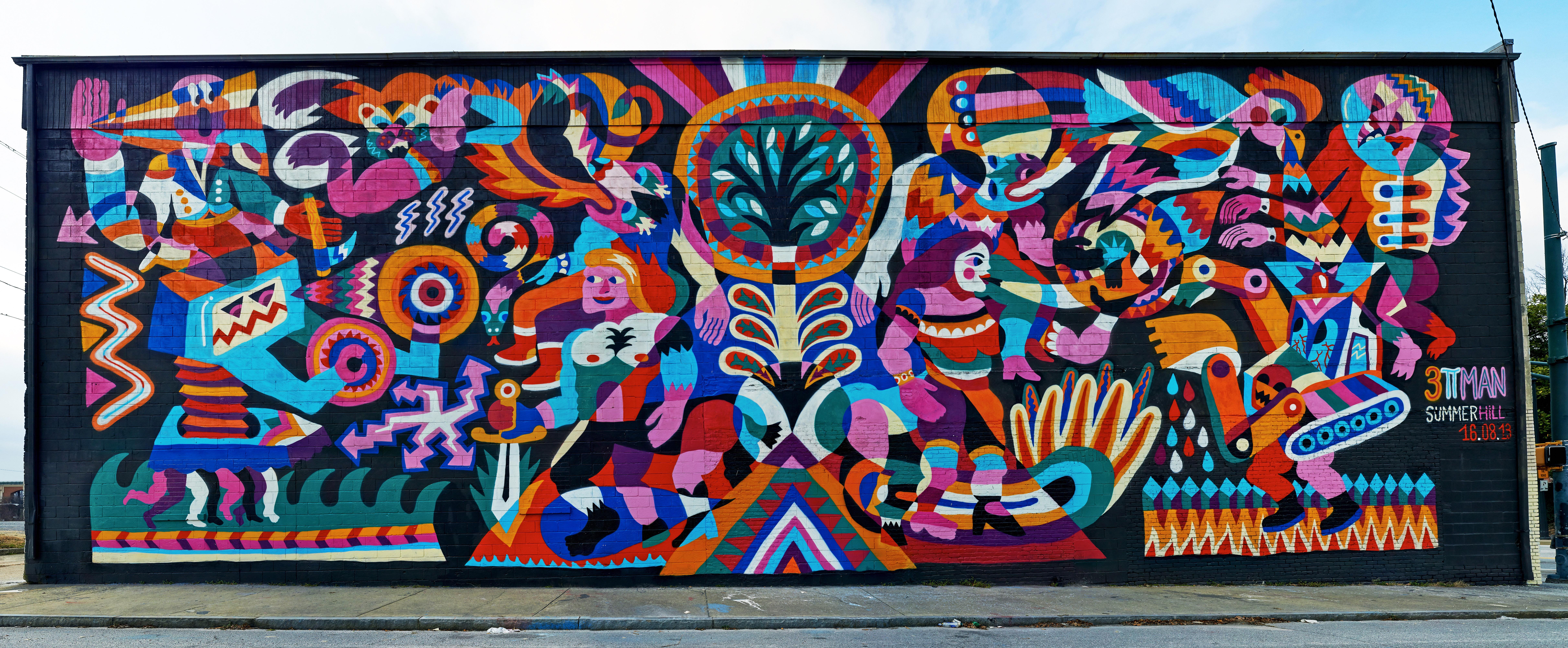 French artist 3ttman in Summerhill, Atlanta for Living Walls 2013.