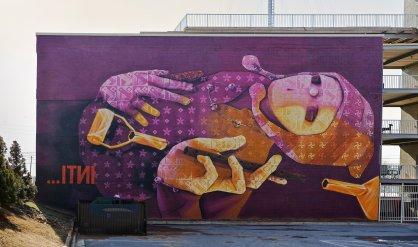 Chilean artist INTI on Reynoldstown Crossing, Atlanta, Georgia, for Living Walls 2013.