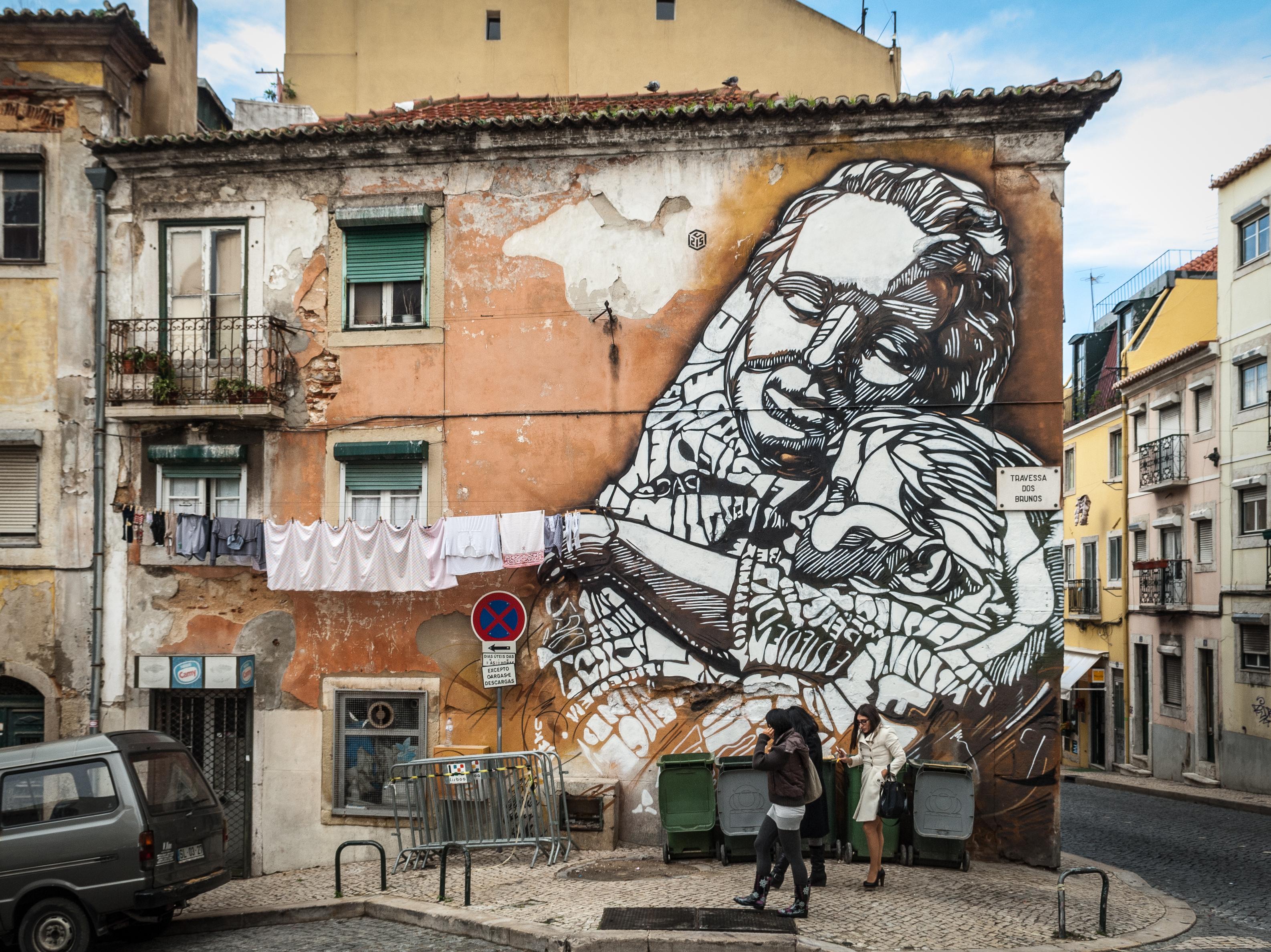 French street artist C215's work on the Calada da Pampulha in Lisbon.