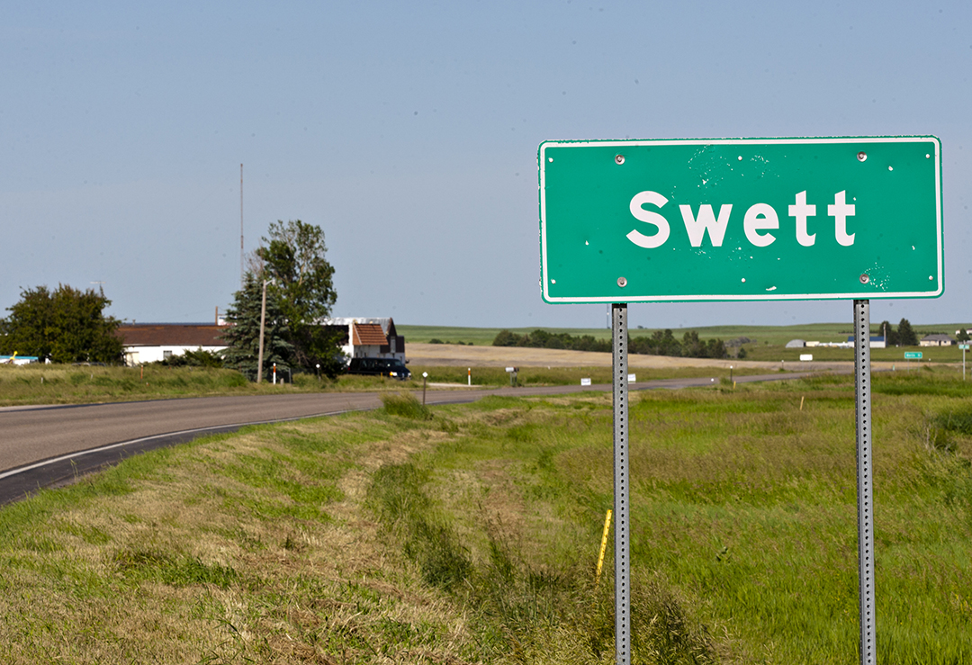 A road marker highlights Swett, S.D.'s small borders on June 26, 2014.