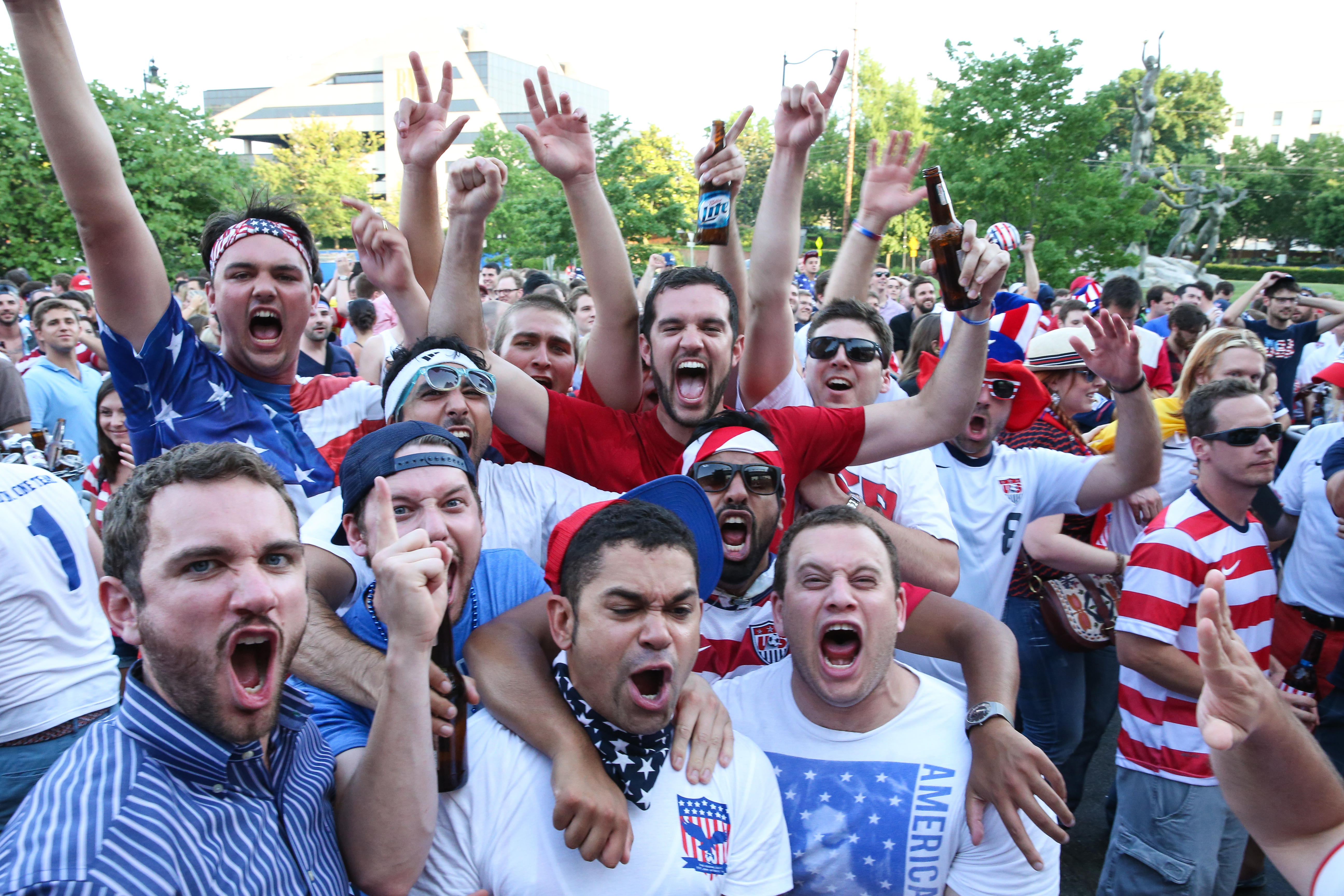 Soccer Fans celebrate the United States win over Ghana in the World Cup opener on June 16, 2014 in Nashville, United States.