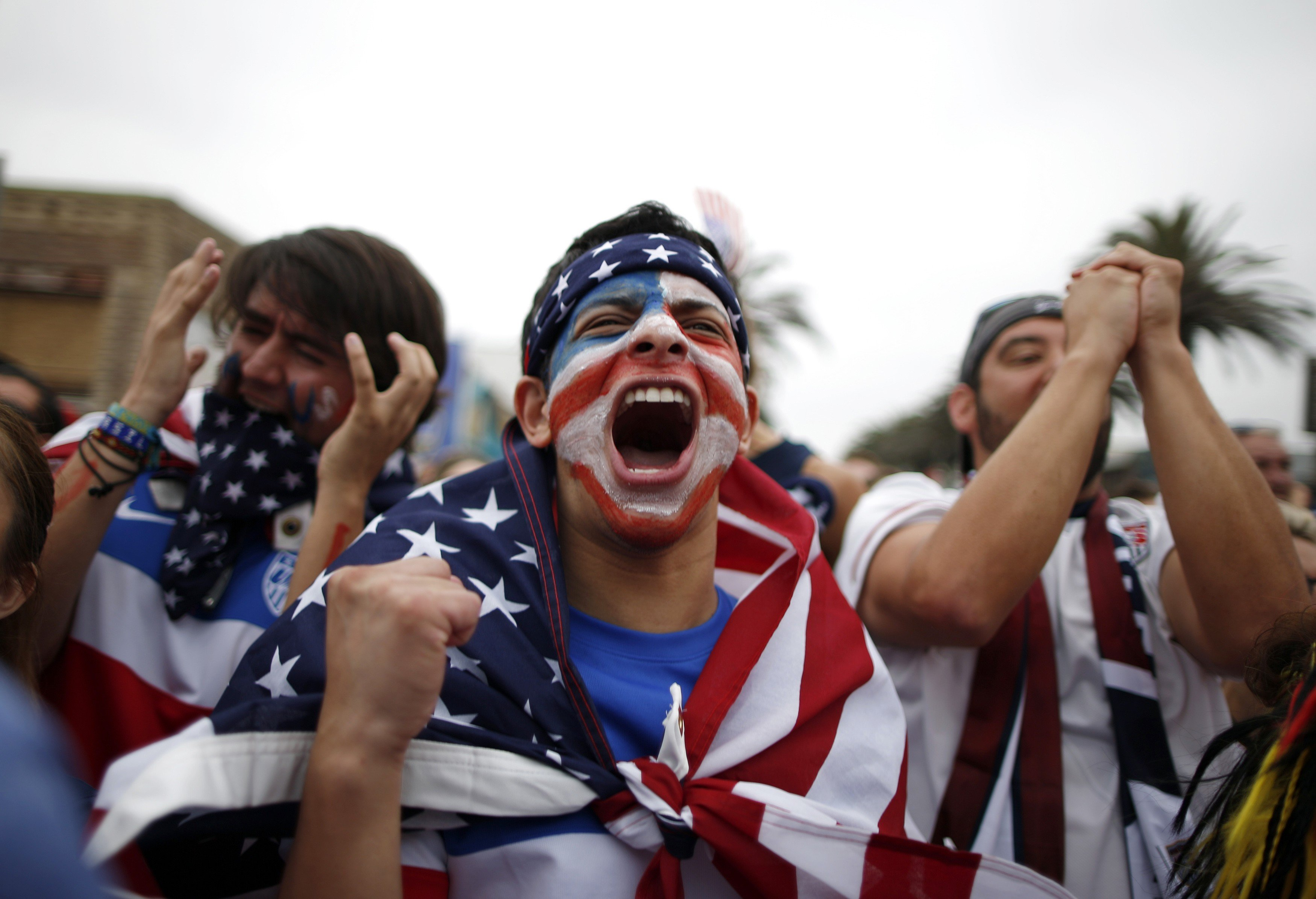 Team U.S.A. fan Gerson Sanchez, 27, during the 2014 World Cup Group G soccer match between Germany and the U.S. at a viewing party in Hermosa Beach, Calif., on June 26, 2014.