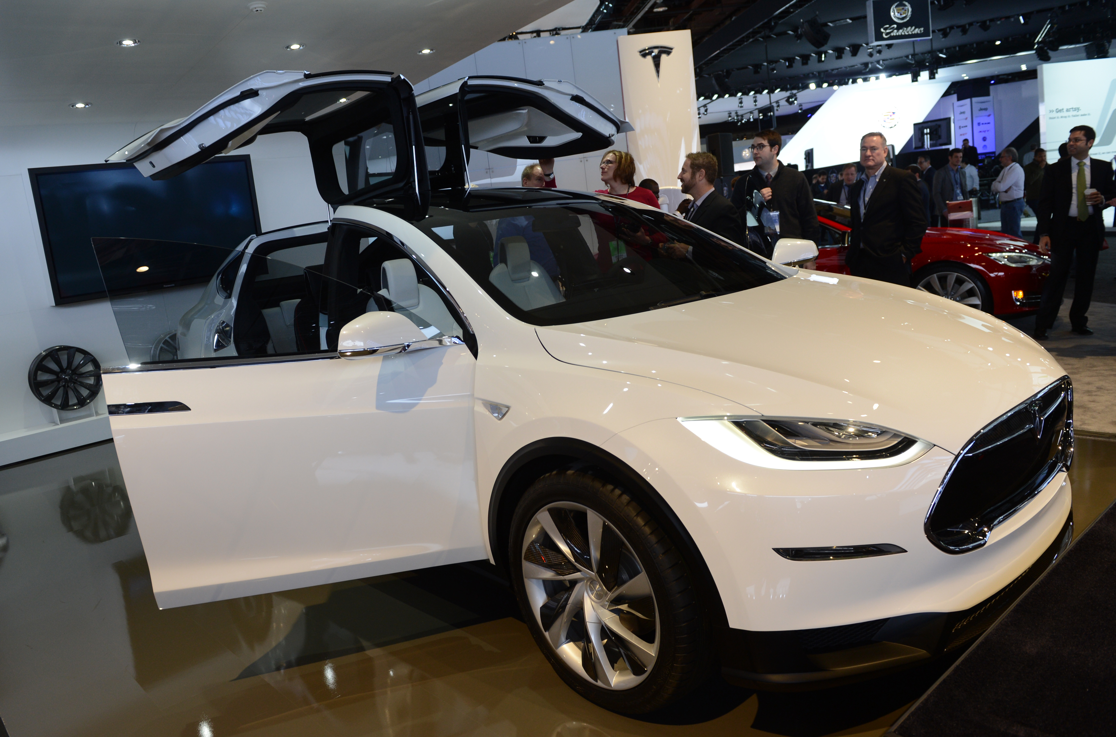 The Tesla Model X is introduced at the 2013 North American International Auto Show in Detroit, Michigan, January 15, 2013.