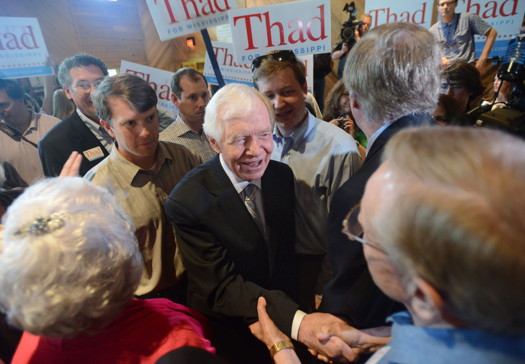 U.S. Sen. Thad Cochran, R-Mississippi, greets supporters at a pre-election day rally at the Mississippi Agriculture and Forestry Museum in Jackson, Miss., on  June 2, 2014.
