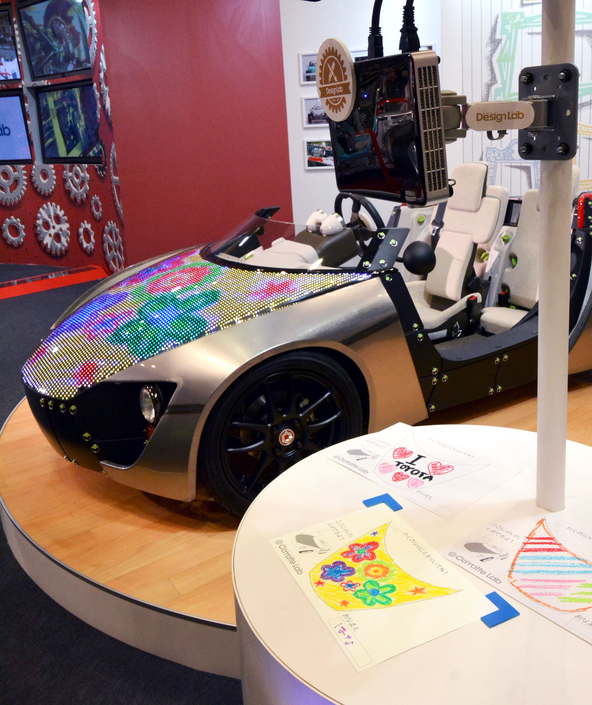 Toyota Motor Corp.'s 'Camatte57s Sport concept' is displayed with its digitally customizable LED hood, at the International Tokyo Toy Show in Tokyo, Japan, June 12 2014.