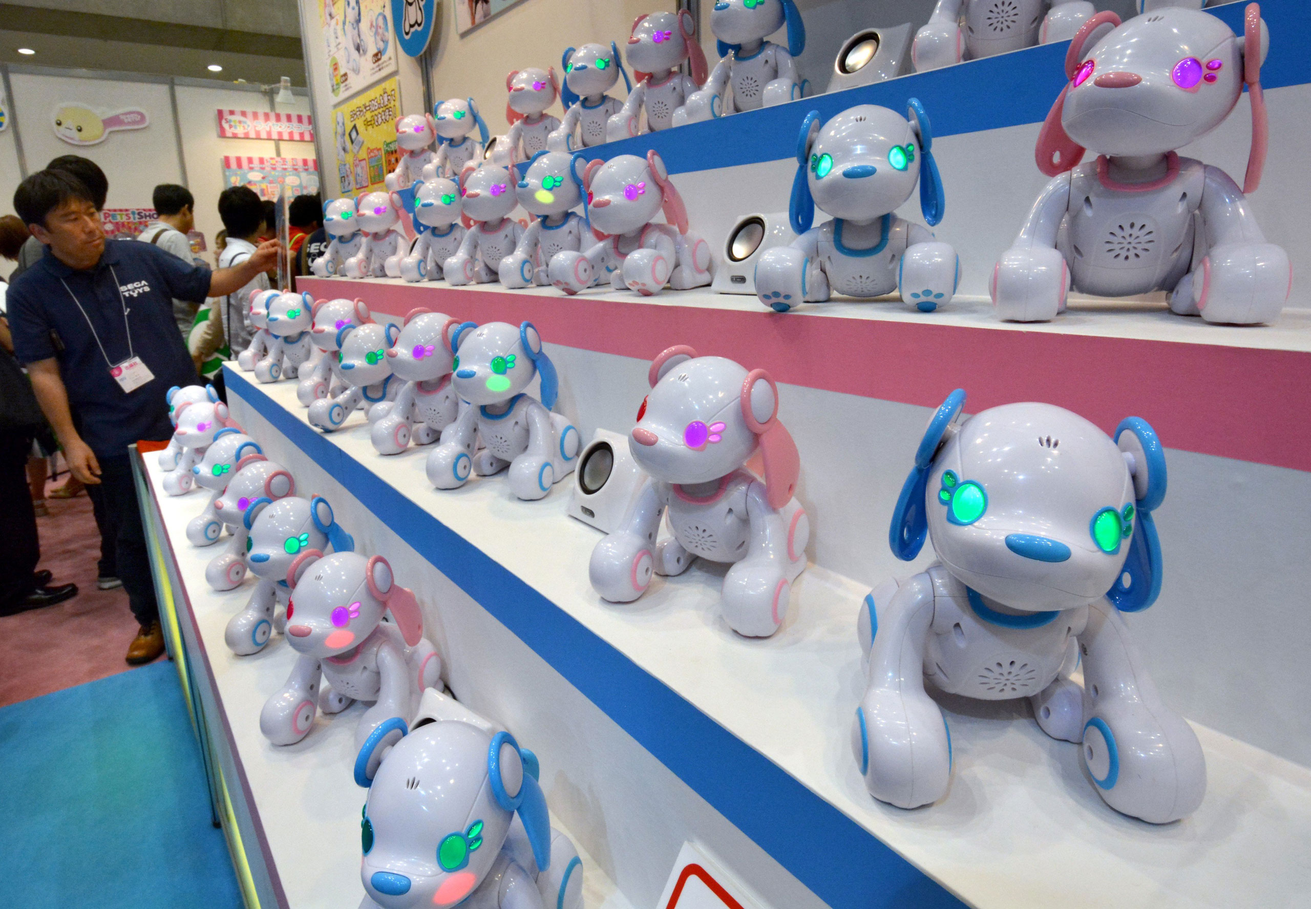 Poochi, a robotic dog, can have a conversation when using Nintendo's portable video game console '3DS'.
