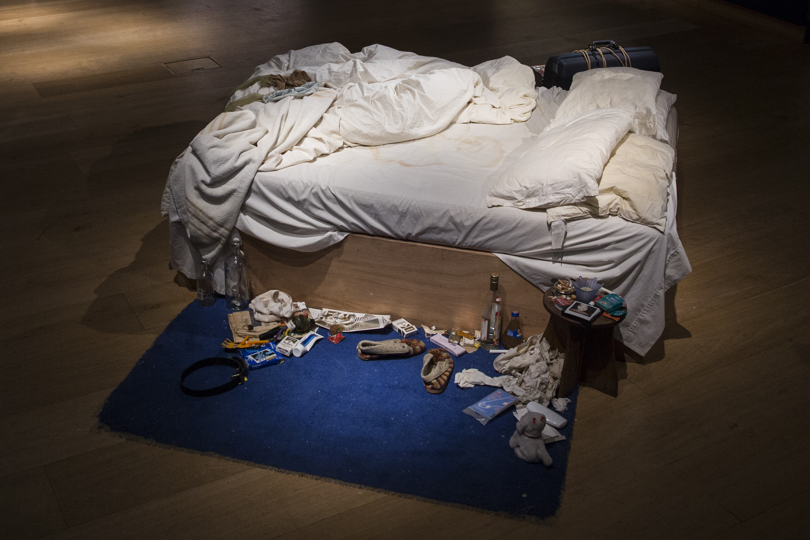 Tracy Emin's 1998 piece My Bed on display at Christie's in London on June 27, 2014