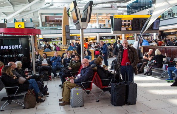 Airline passengers wait for departure at London Heathrow Airport, the fifth busiest airport in the world.
