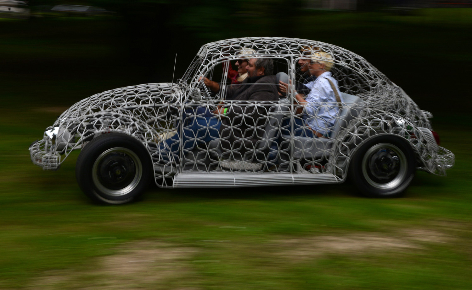 A wire-bodied Orion Volkswagen Beetle is pictured at the  Legendy  Motoring Festival in Prague on June 14, 2014.