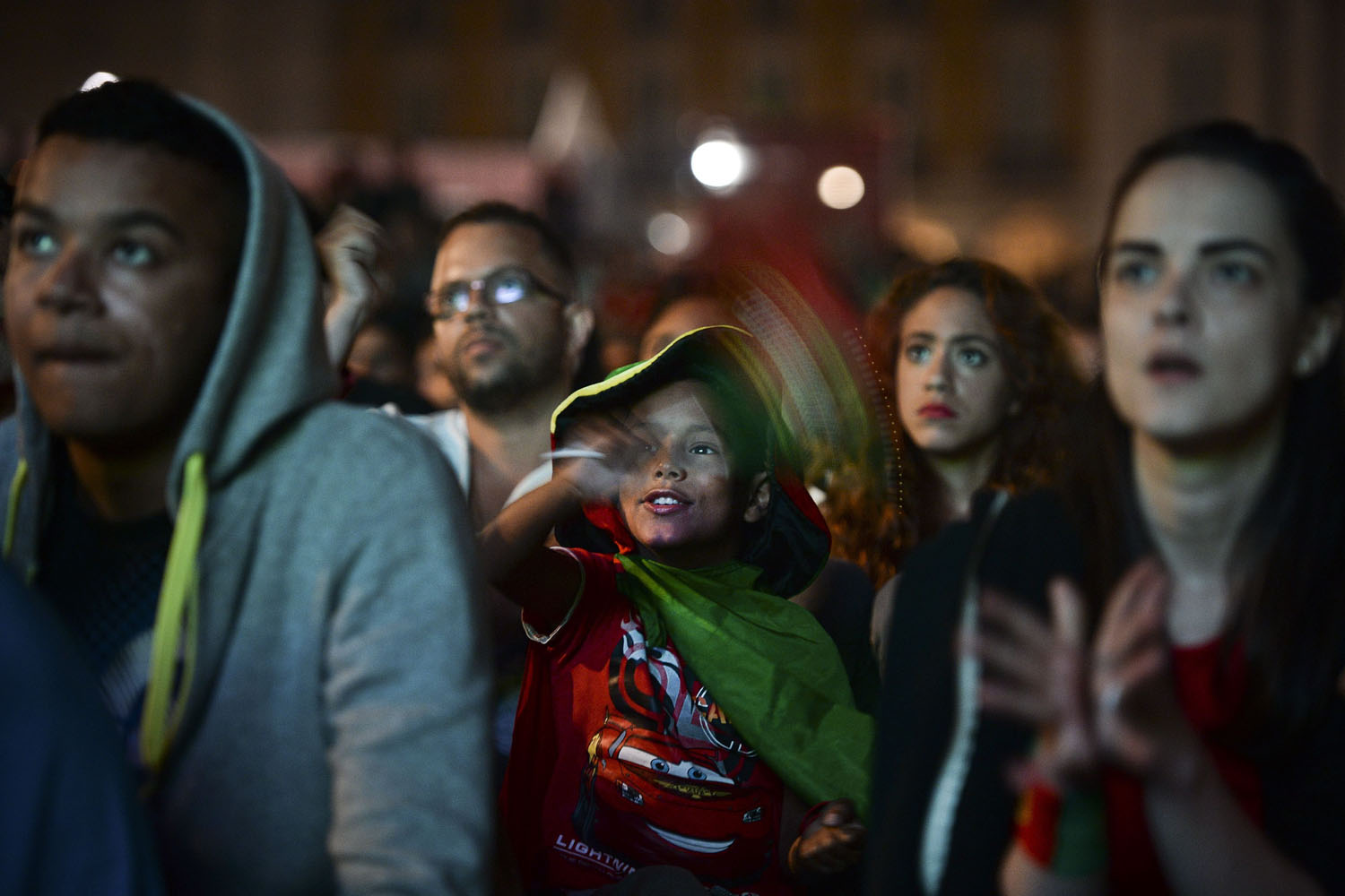 Jun. 22, 2014. Supporters of the Portuguese national football team gather at Terreiro do Paco Square in Lisbon.