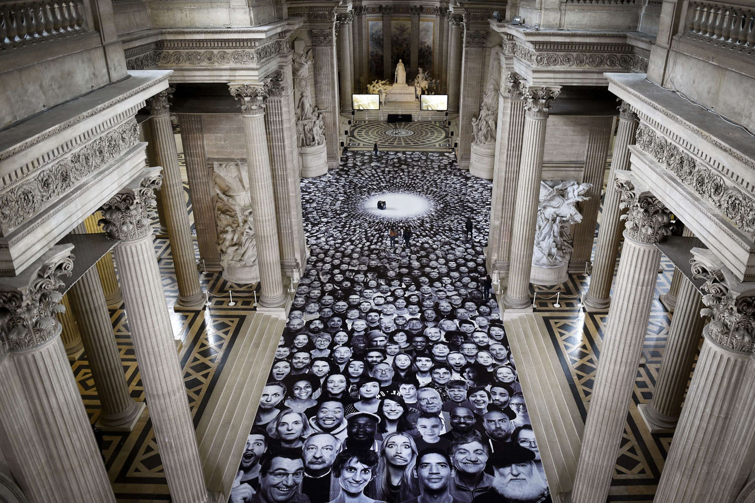 June 3, 2014. A photo by French photographer JR is displayed on the ground of the Pantheon in Paris, a secular temple which contains the remains of distinguished French citizens, on  during the exhibition 'Au Pantheon.'