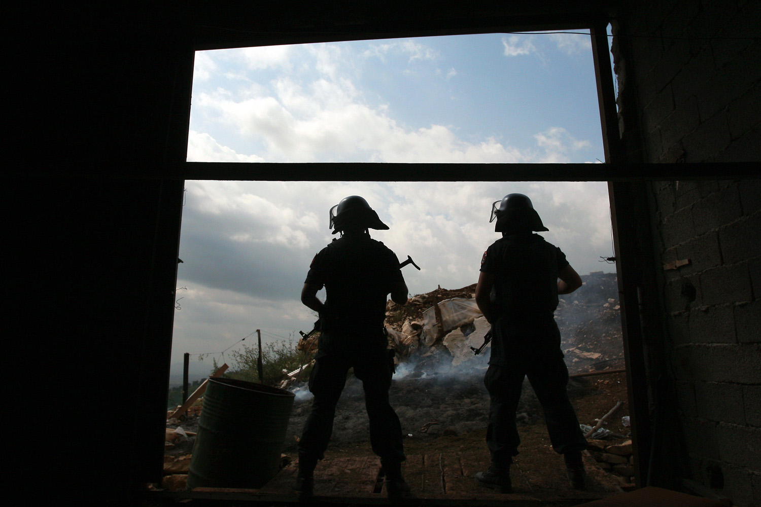 Jun. 18, 2014. Albanian police officers take control of a depot used for drug trafficking in Lazarat, a village known as Europe's cannabis capital, south of the Albanian capital Tirana.
