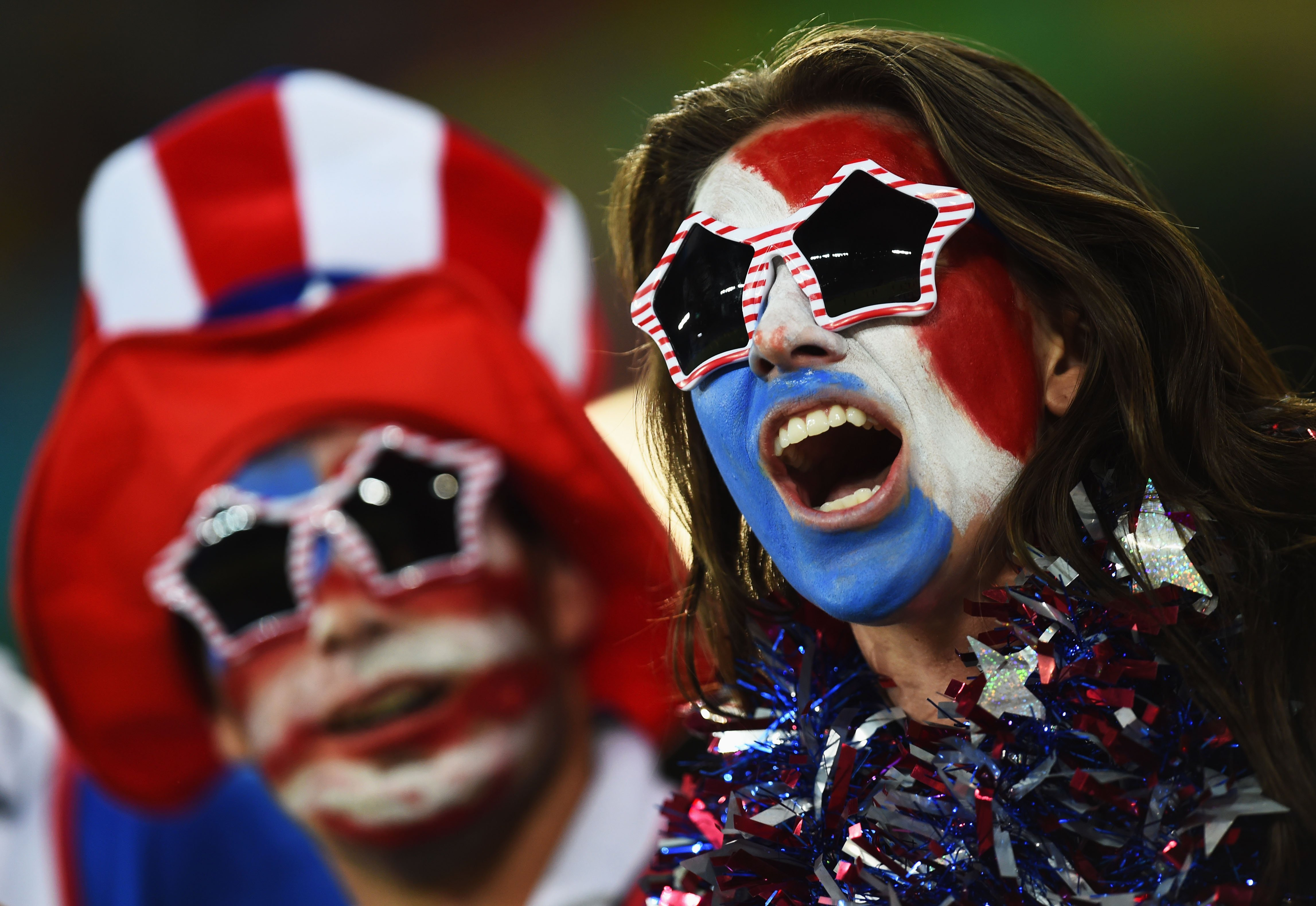 United States fans cheer prior to the 2014 FIFA World Cup Brazil Group G match between Ghana and the United States at Estadio das Dunas on June 16, 2014 in Natal, Brazil.