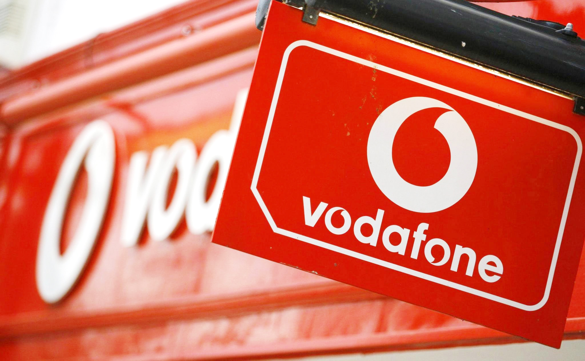 A Vodafone sign on May 30, 2006.