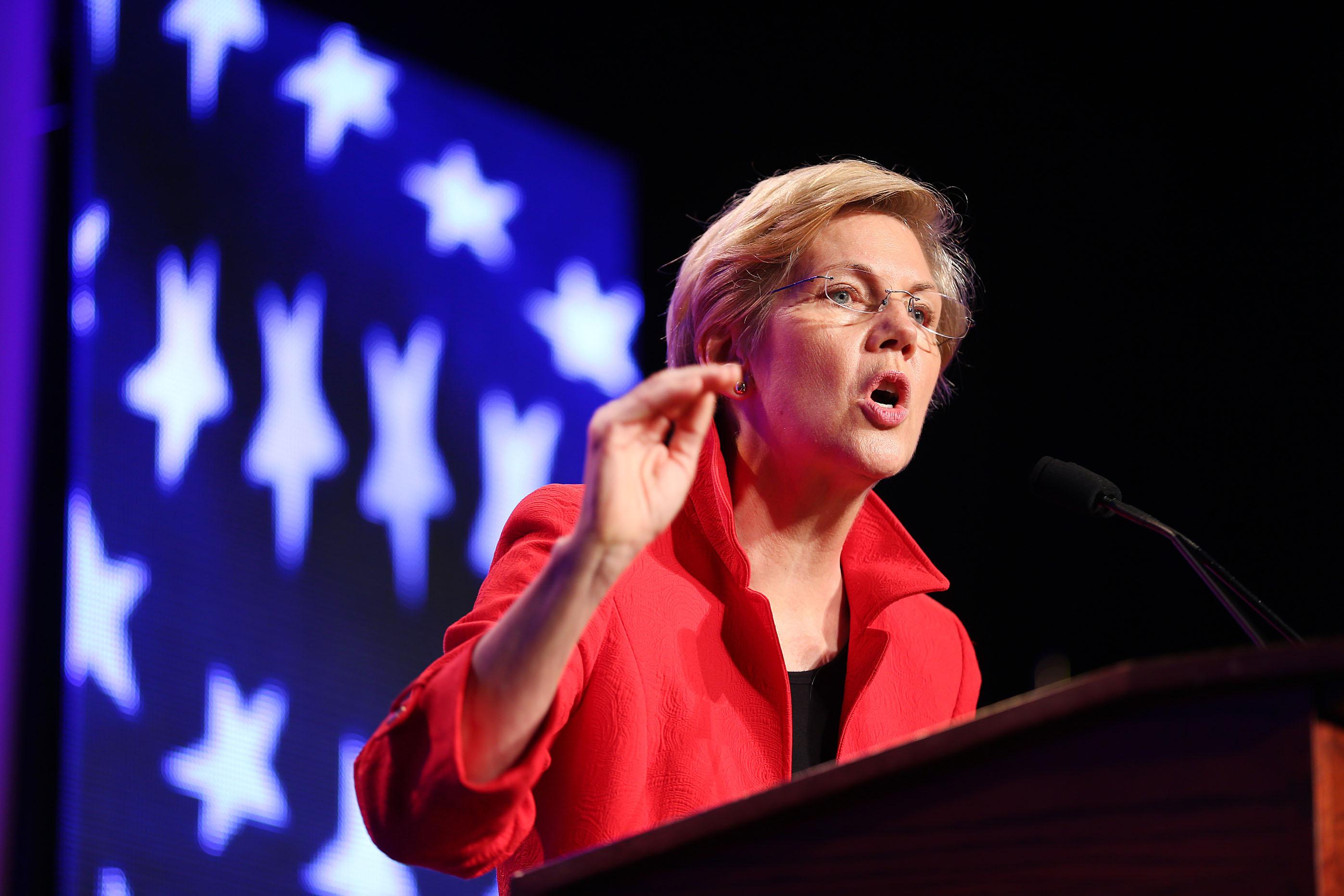 Senator Elizabeth Warren speaks at the Democratic State Convention in Worcester, Mass. on June 13.